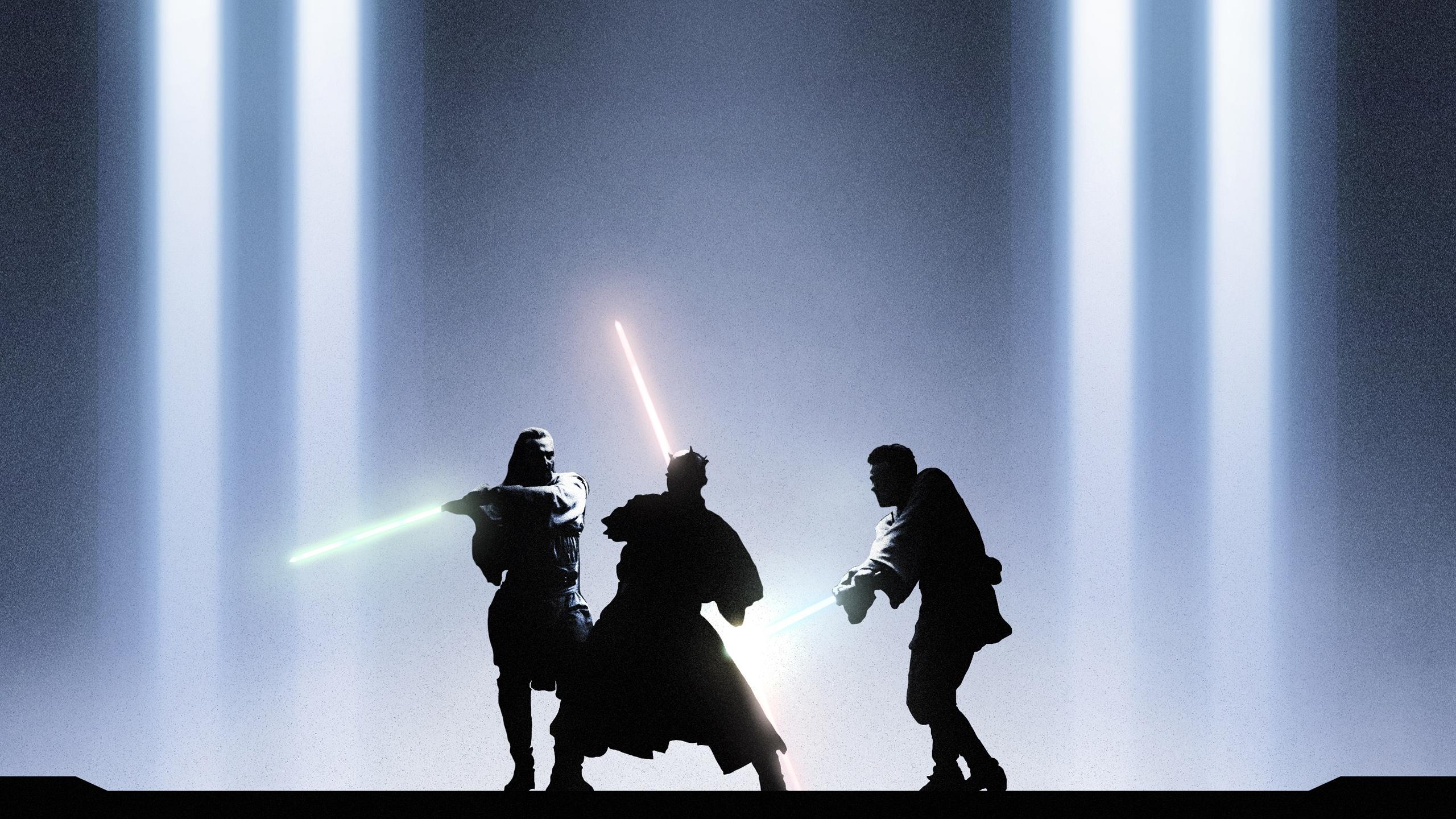 Star Wars Obi Wan Qui Gon Darth Maul Hd Wallpaper