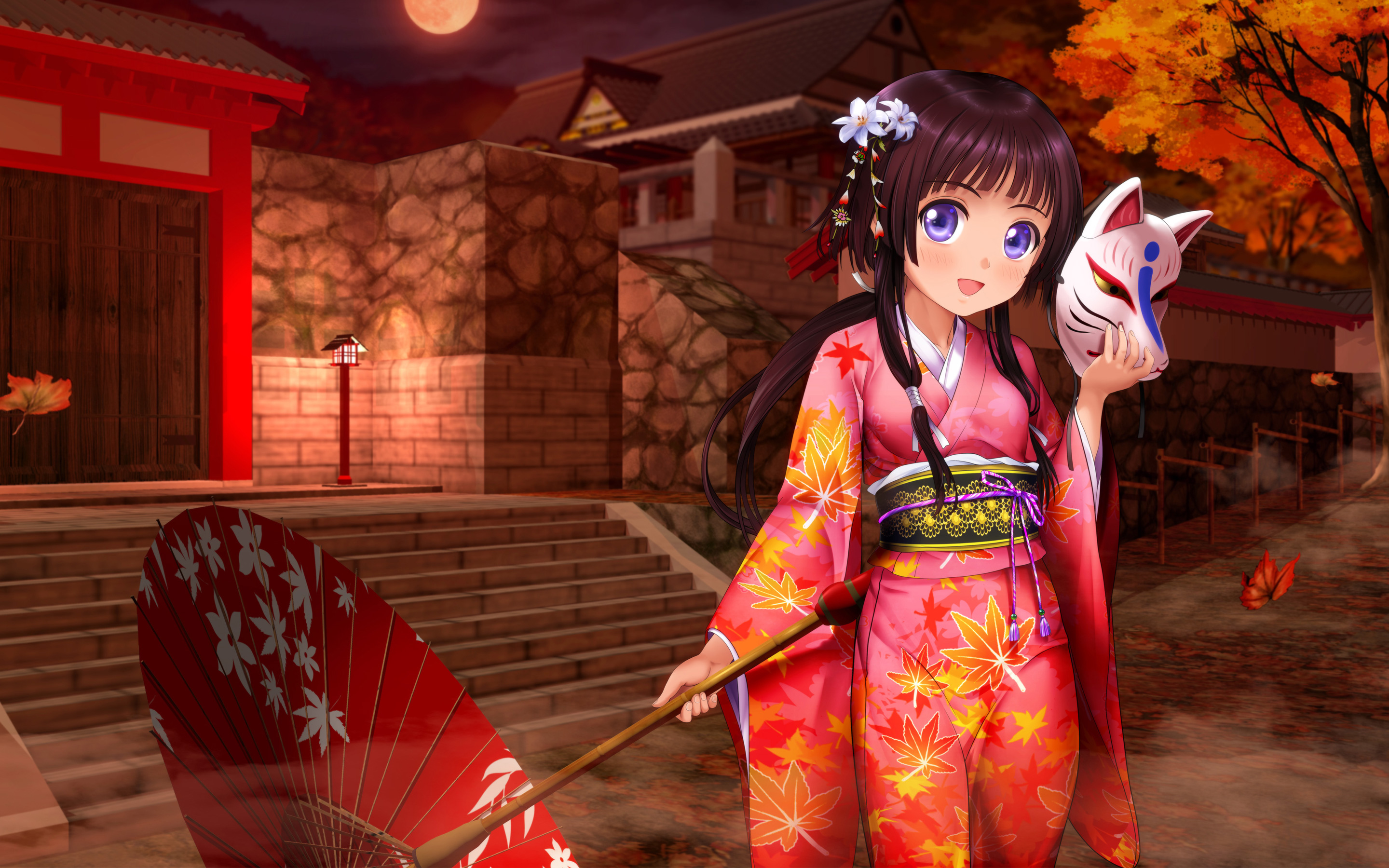 Anime Girl Kimono Umbrella wallpaper