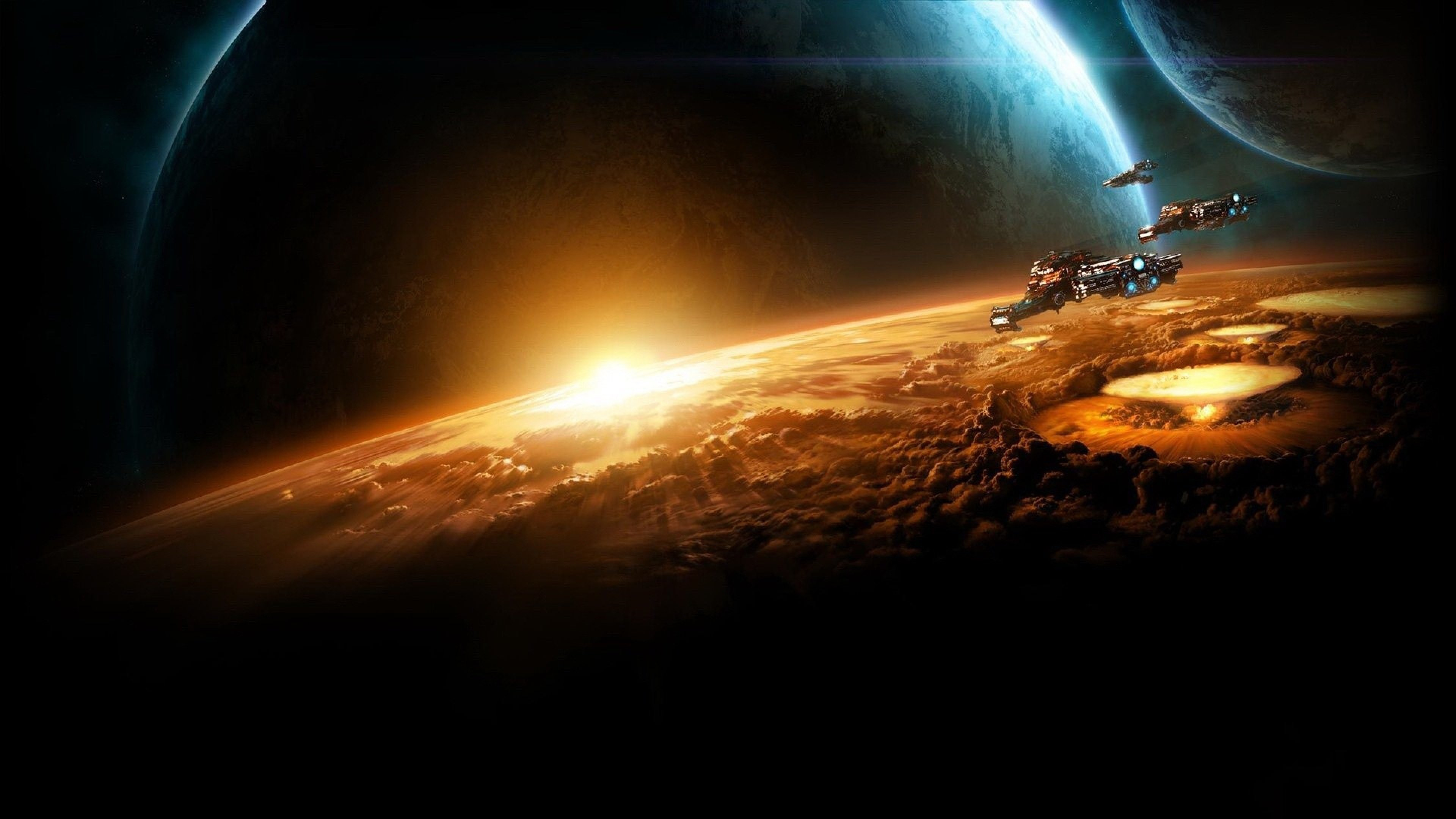 Starcraft Planet Sun Earth Space Wallpaper