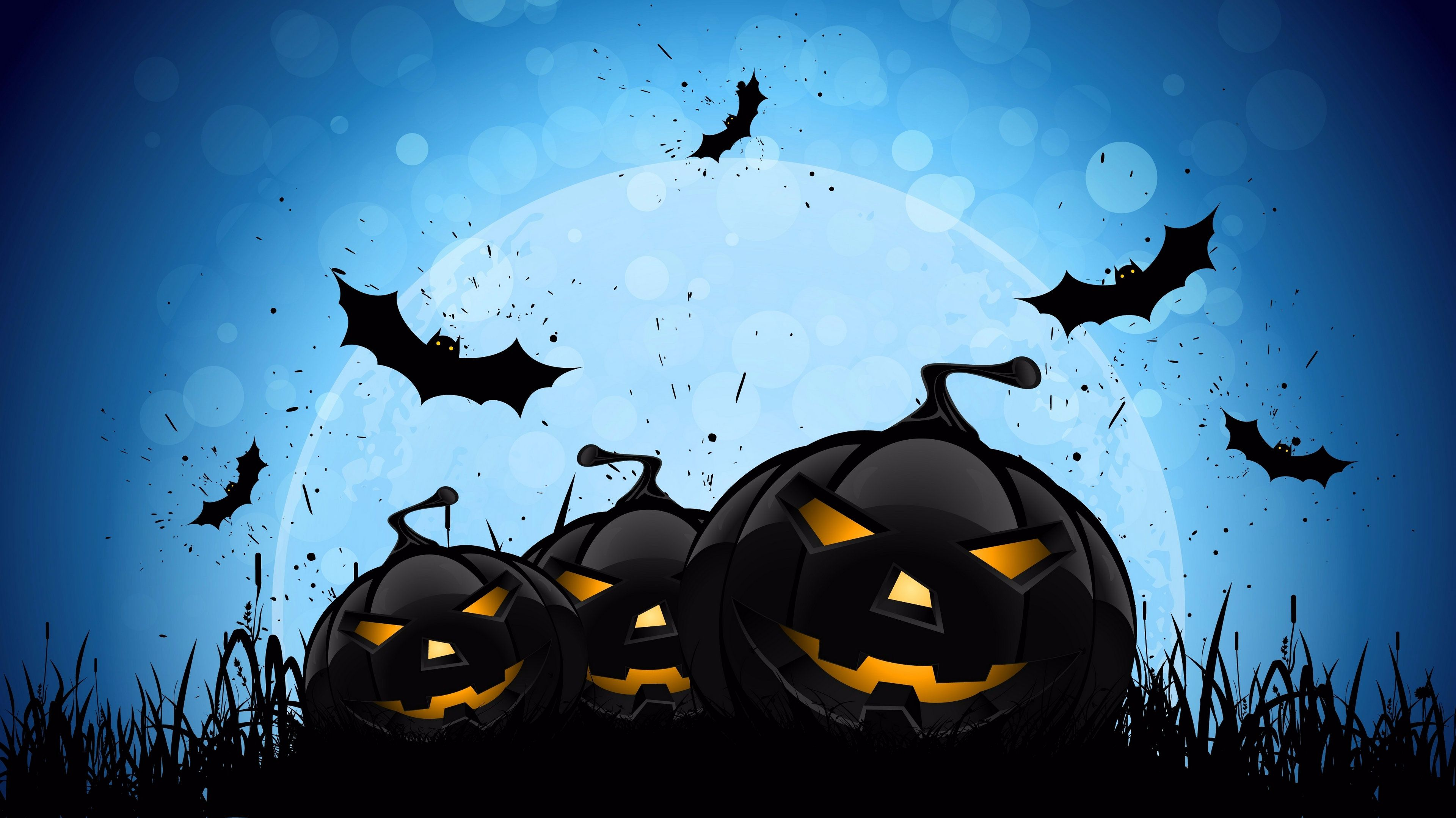 blue scary night happy halloween wallpaper