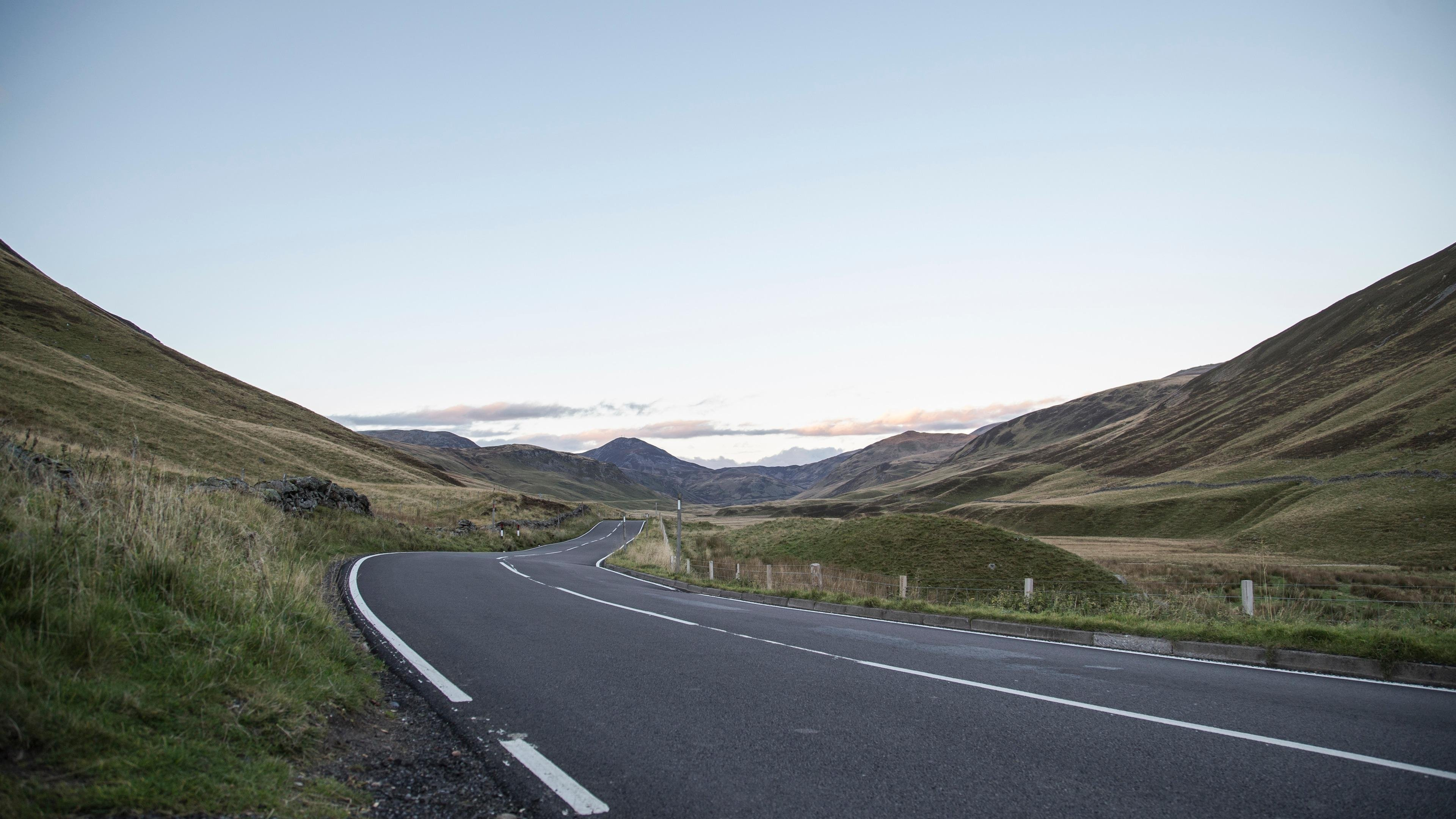 Road and Green Mountain Landscape wallpaper