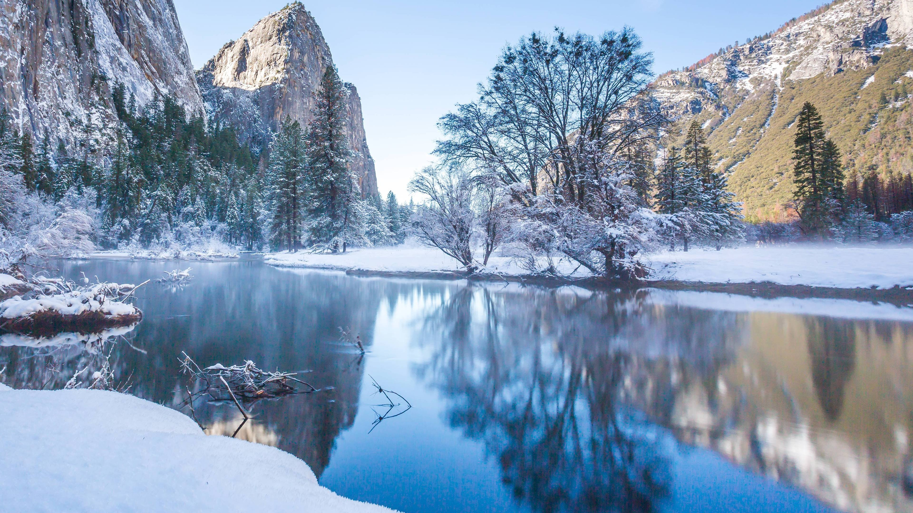Fresh Snow Along The Merced River 4k Wallpaper