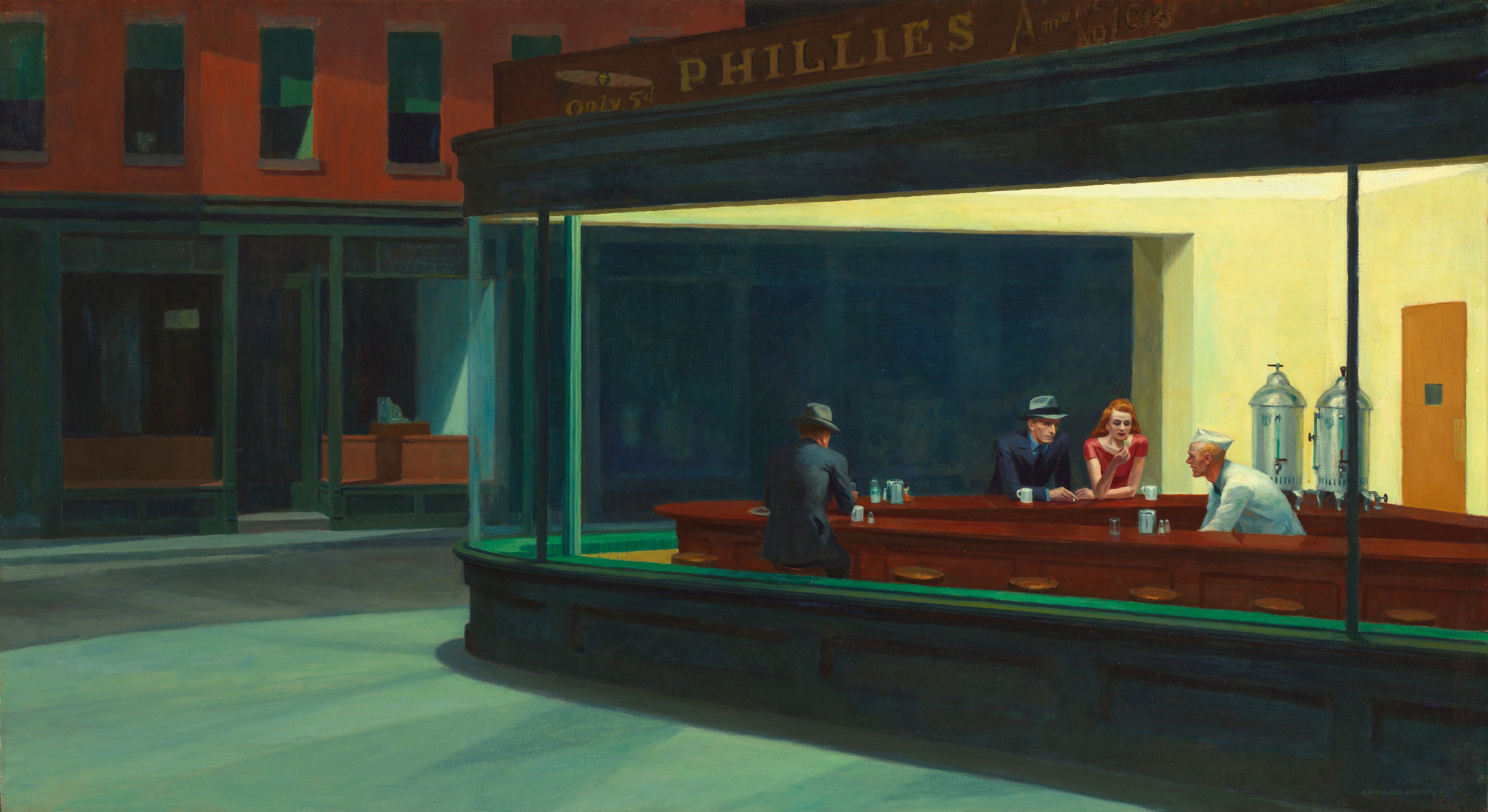Nighthawks - A Painting That Makes a Pretty Good wallpaper
