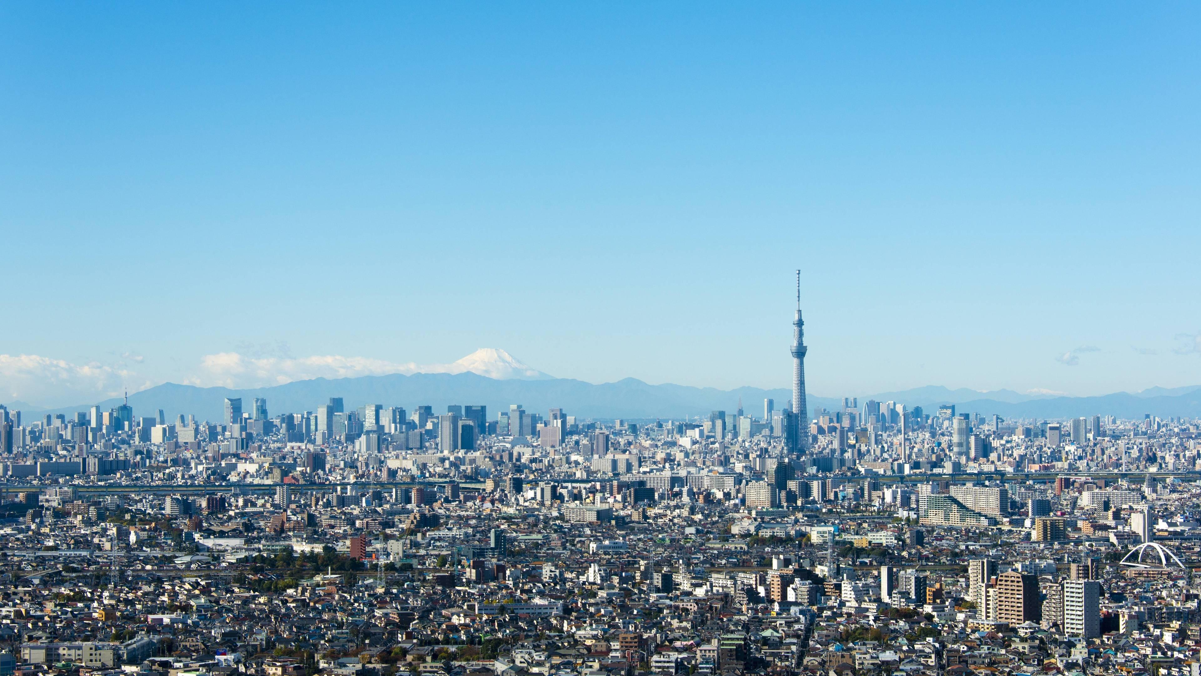 Tokyo Skytree And Mt Fuji 4K Wallpaper