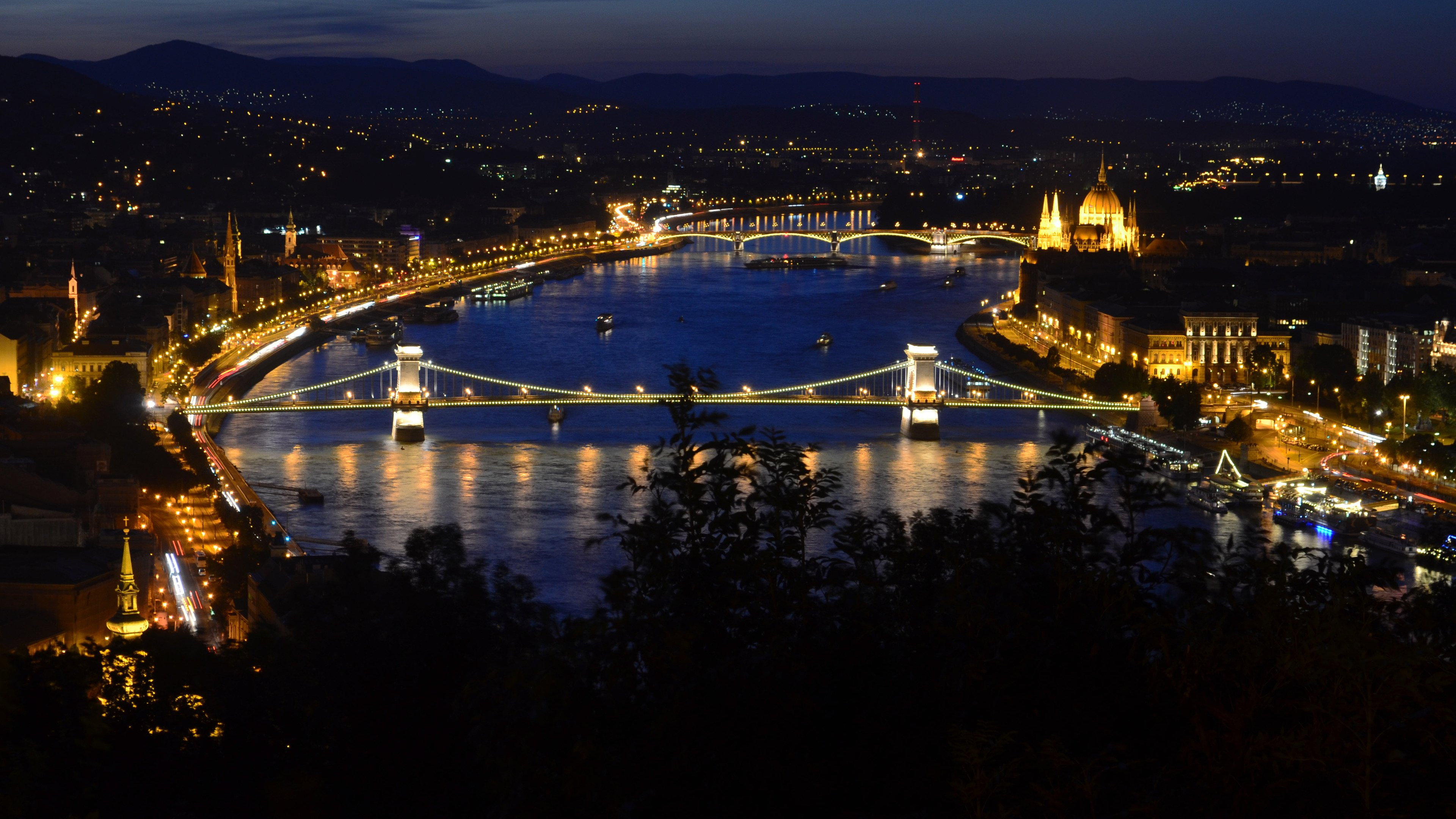 Budapest and the Blue Danube at Night wallpaper