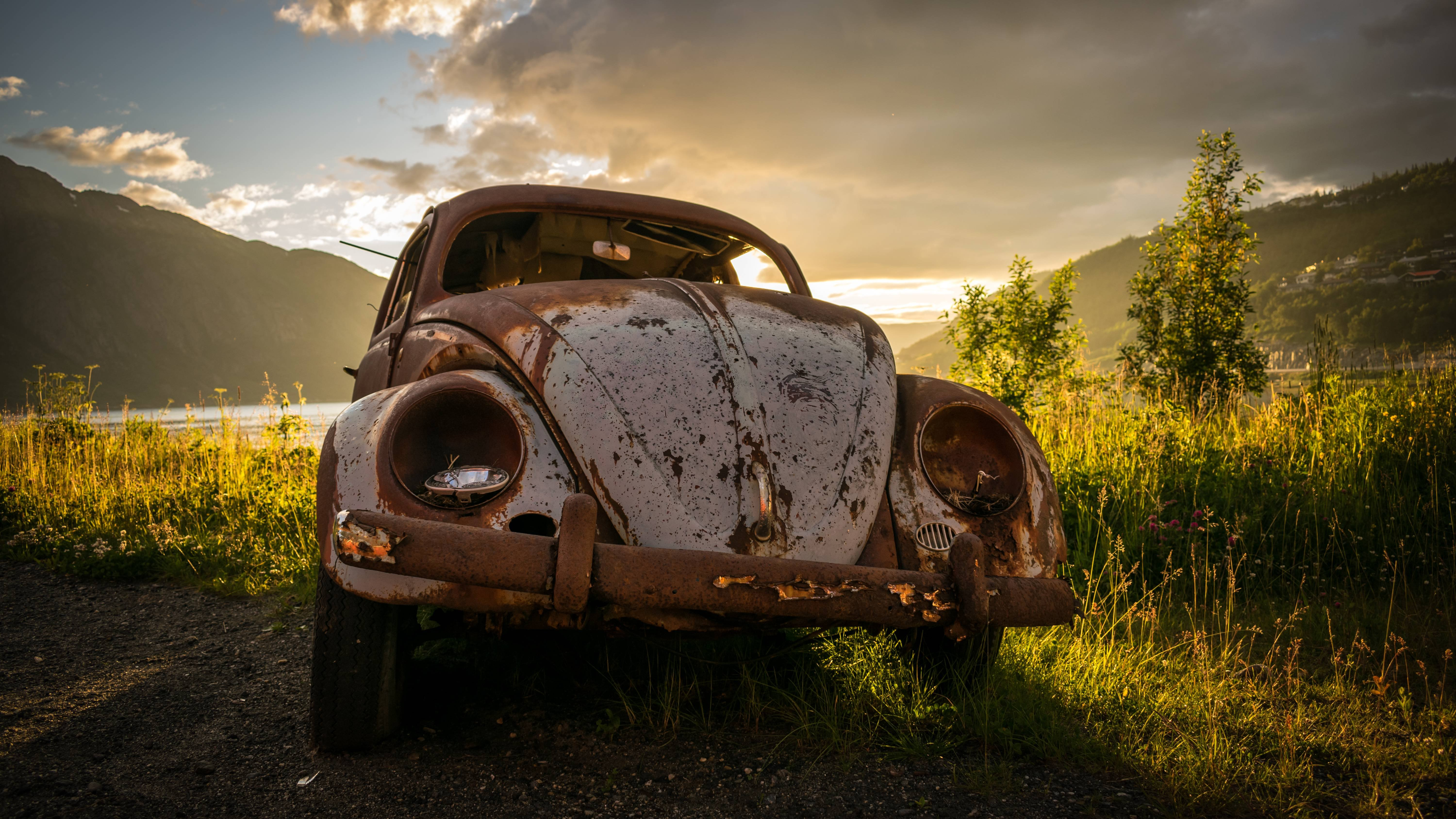 Abandoned VW Beetle wallpaper