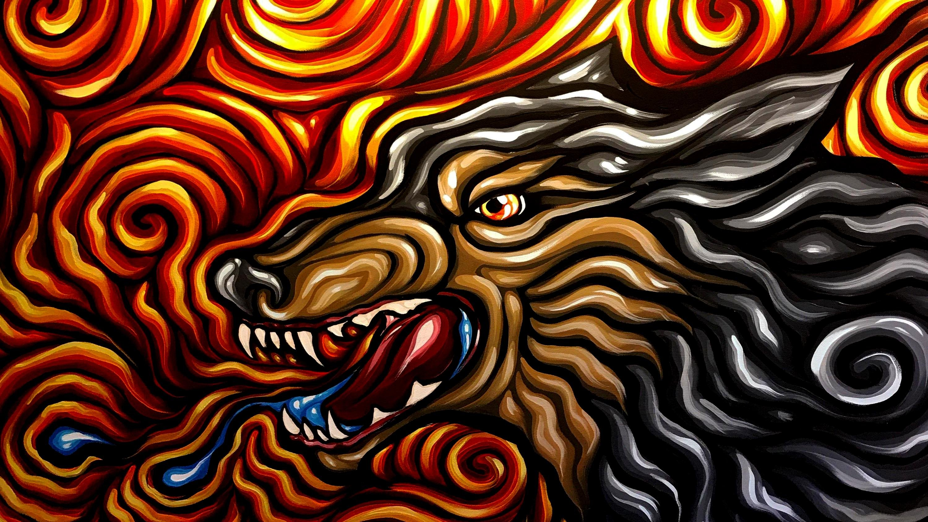 Dire Wolf Painting wallpaper