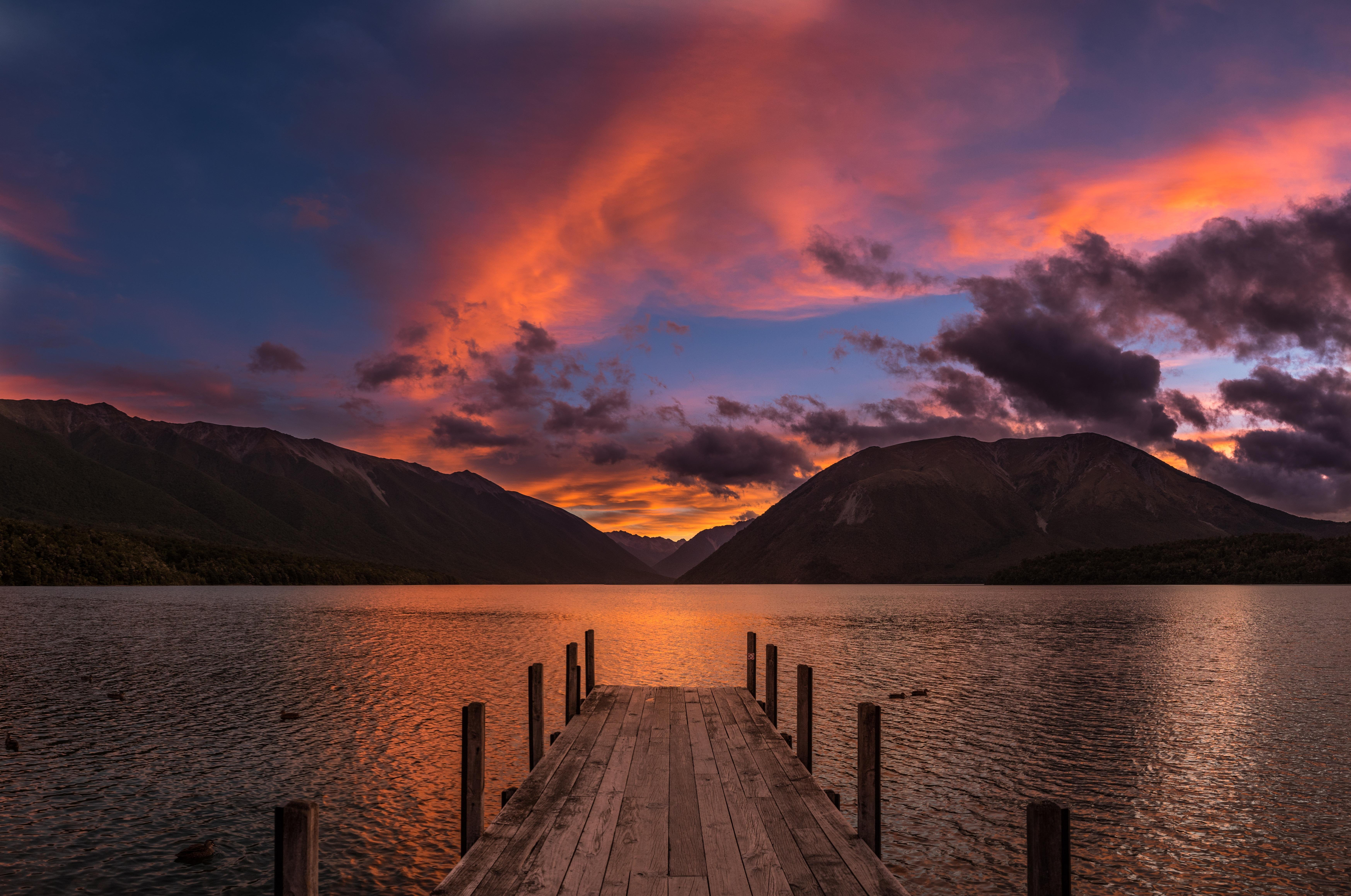 Magical Sunset at Lake Rotoiti New Zealand wallpaper