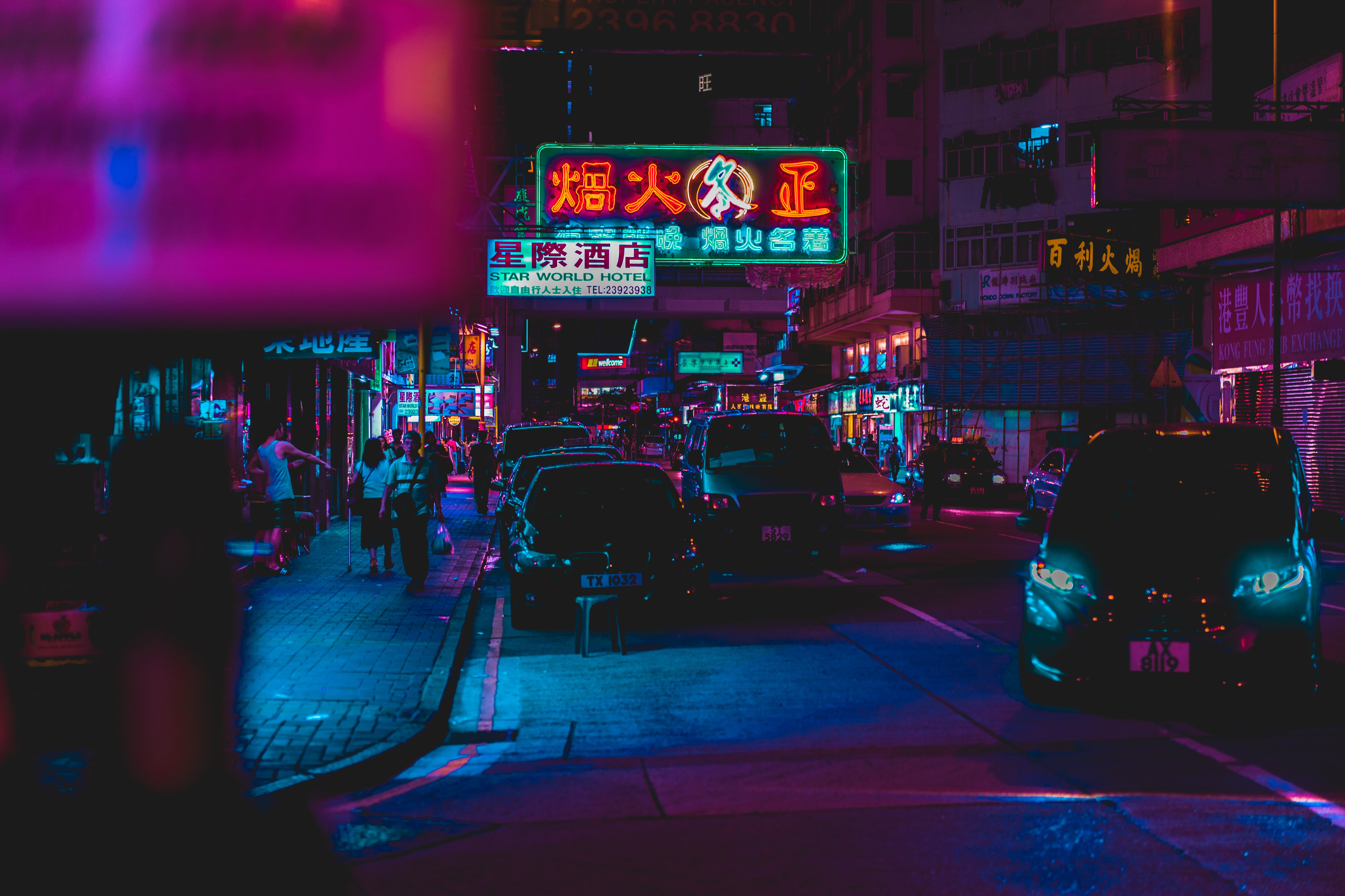 Hong Kong Night Street 4K Wallpaper