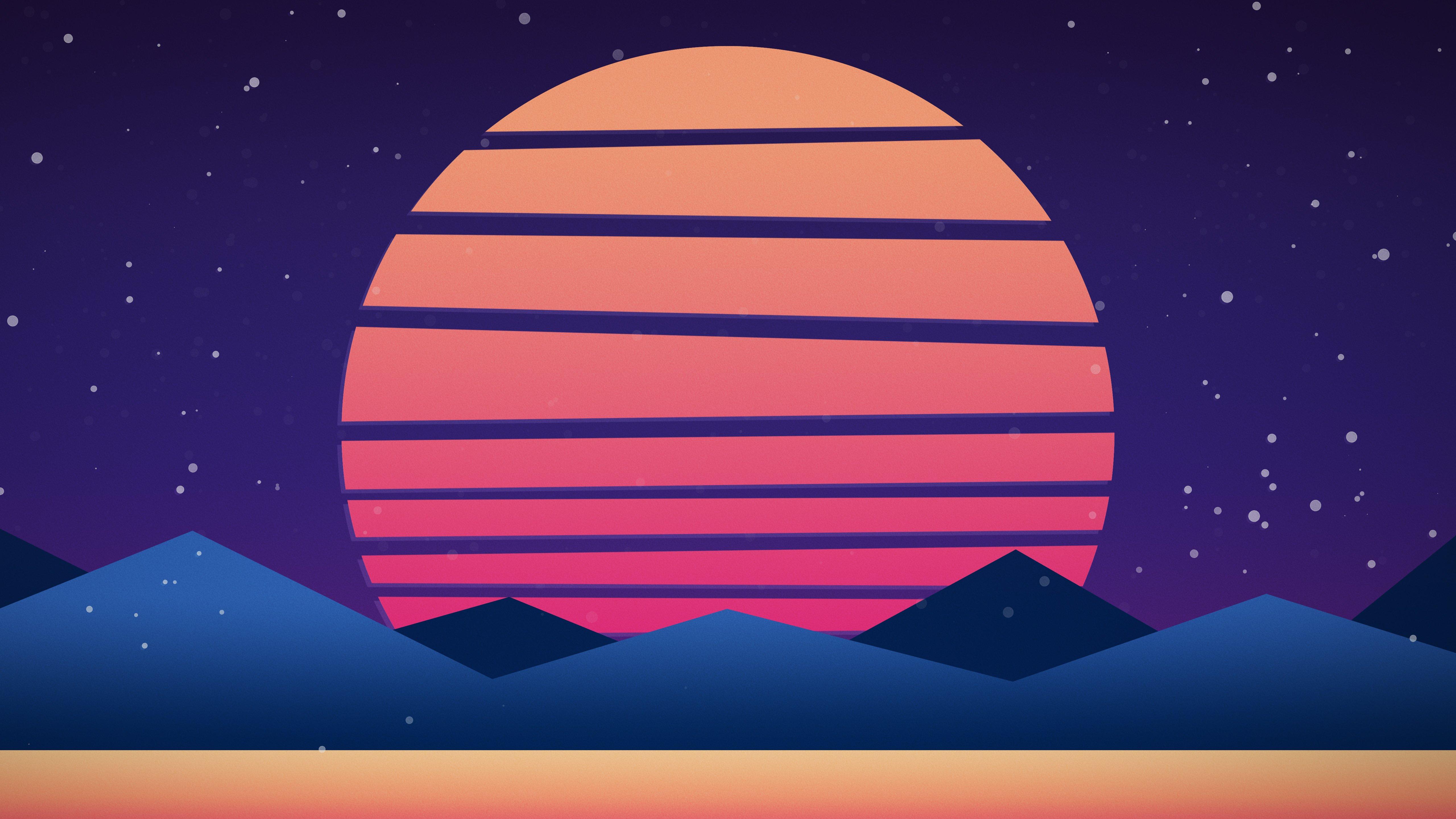 5k Synthwave Inspired Sunset 4k Wallpaper
