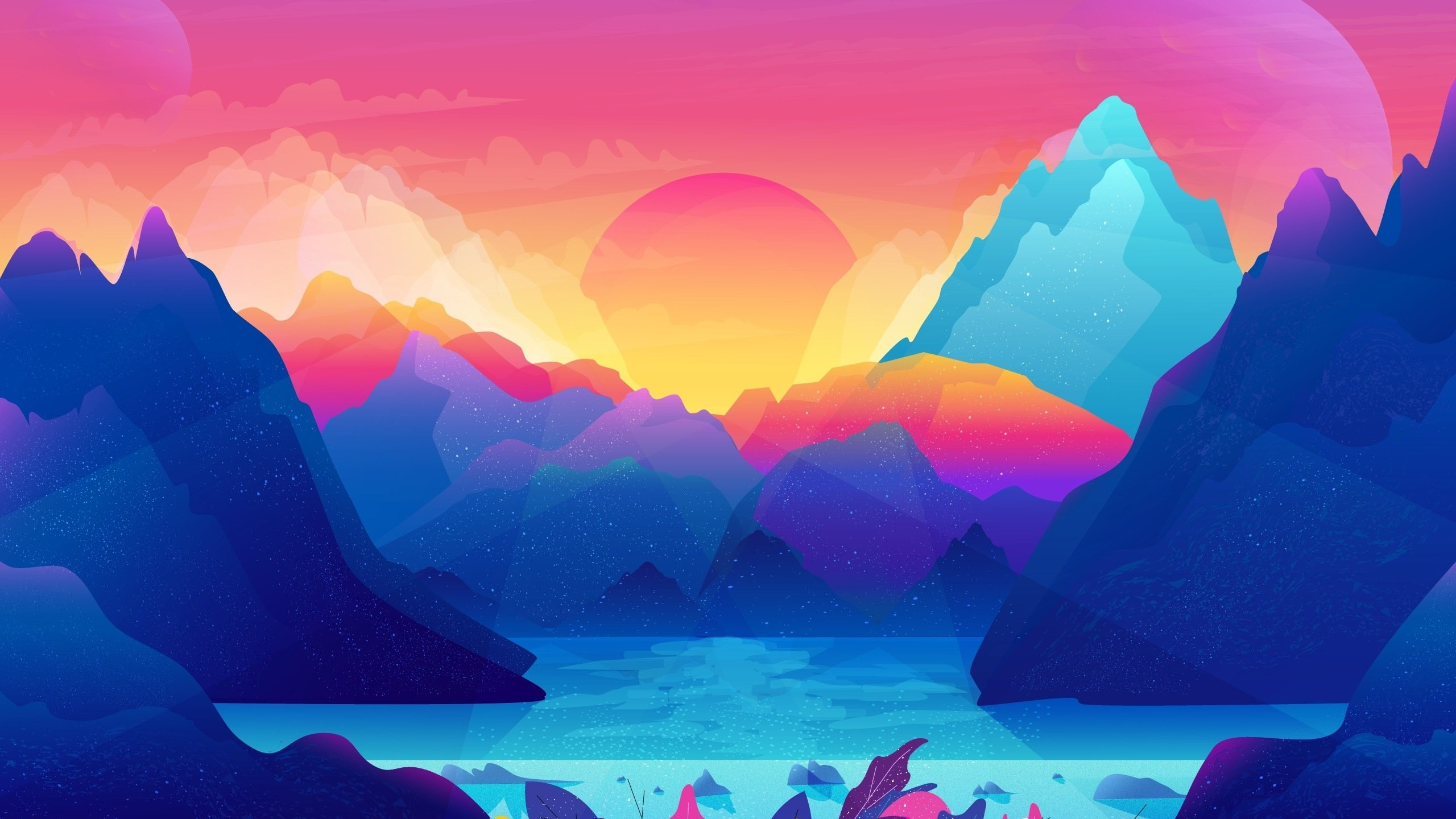 mountains sunset digital art hd wallpaper