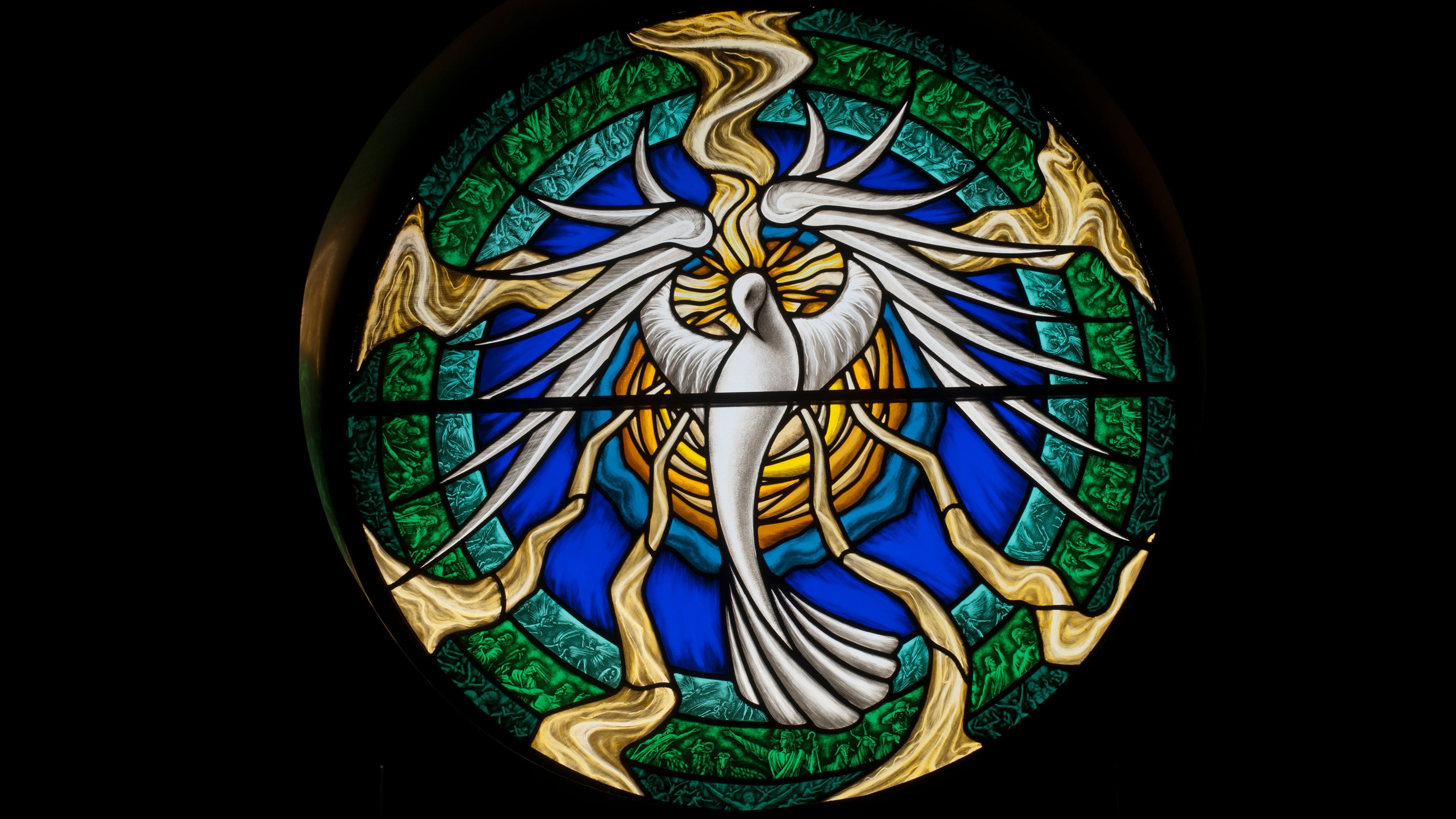 Holy Spirit And Saints Stained Glass Wallpaper