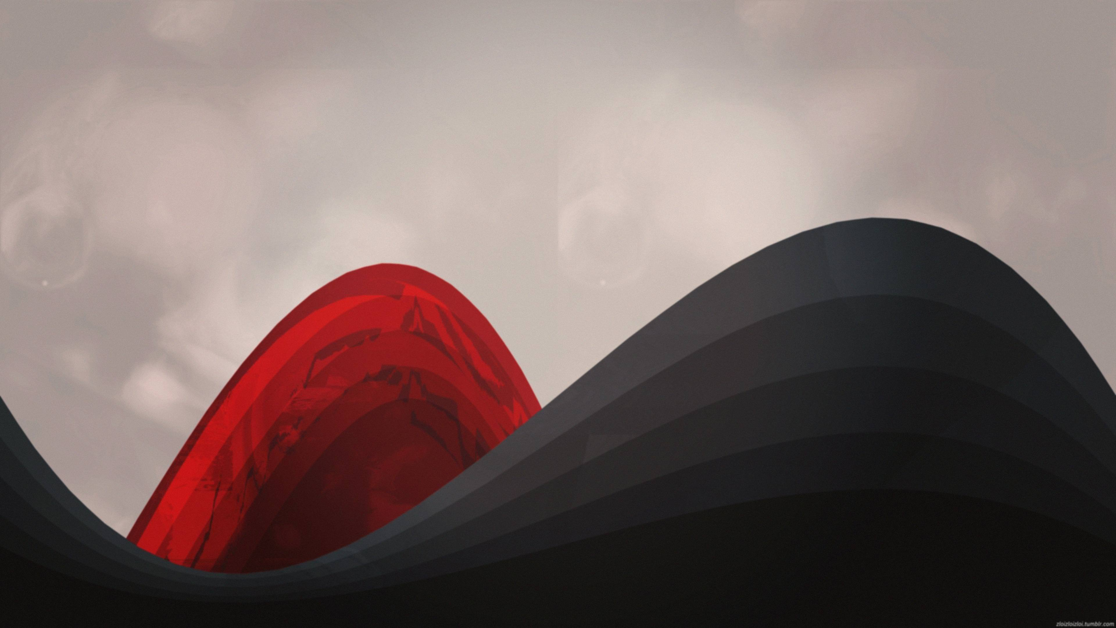 Abstract Minimalism Red And Black 4k Wallpaper