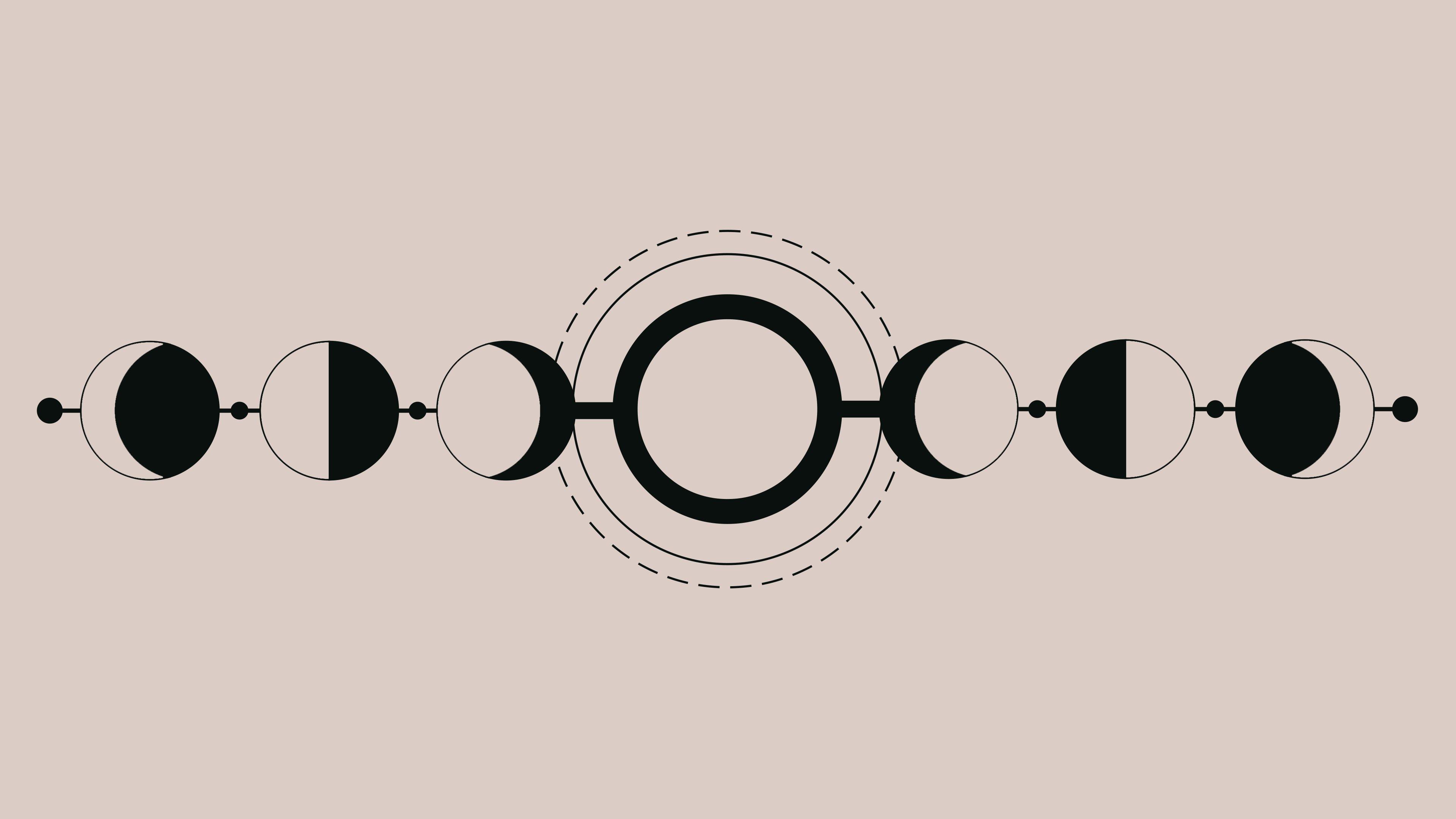 Geometric Lunar Phases 4k Wallpaper