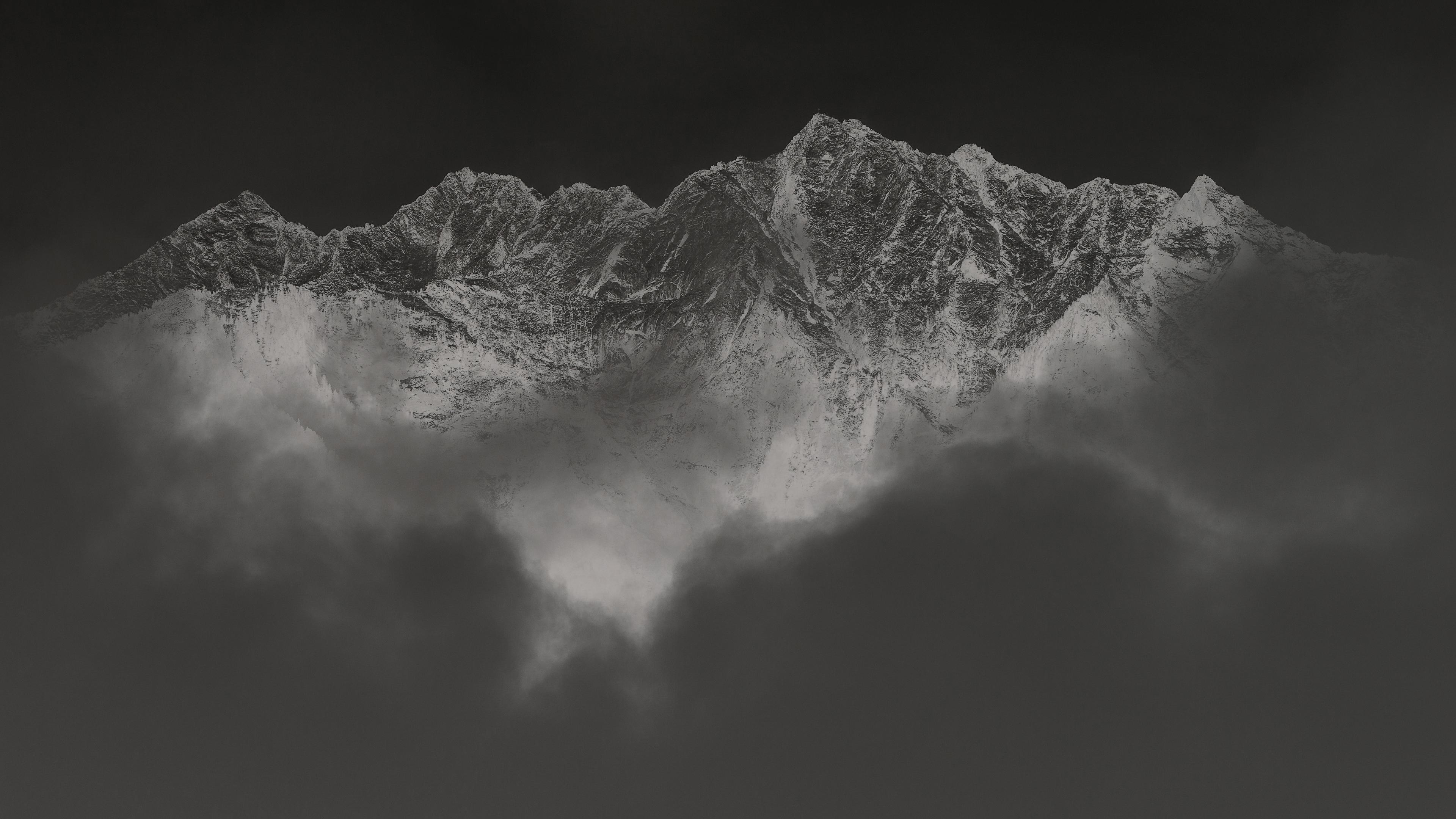 Inverted Black White Mountains 4k Wallpaper