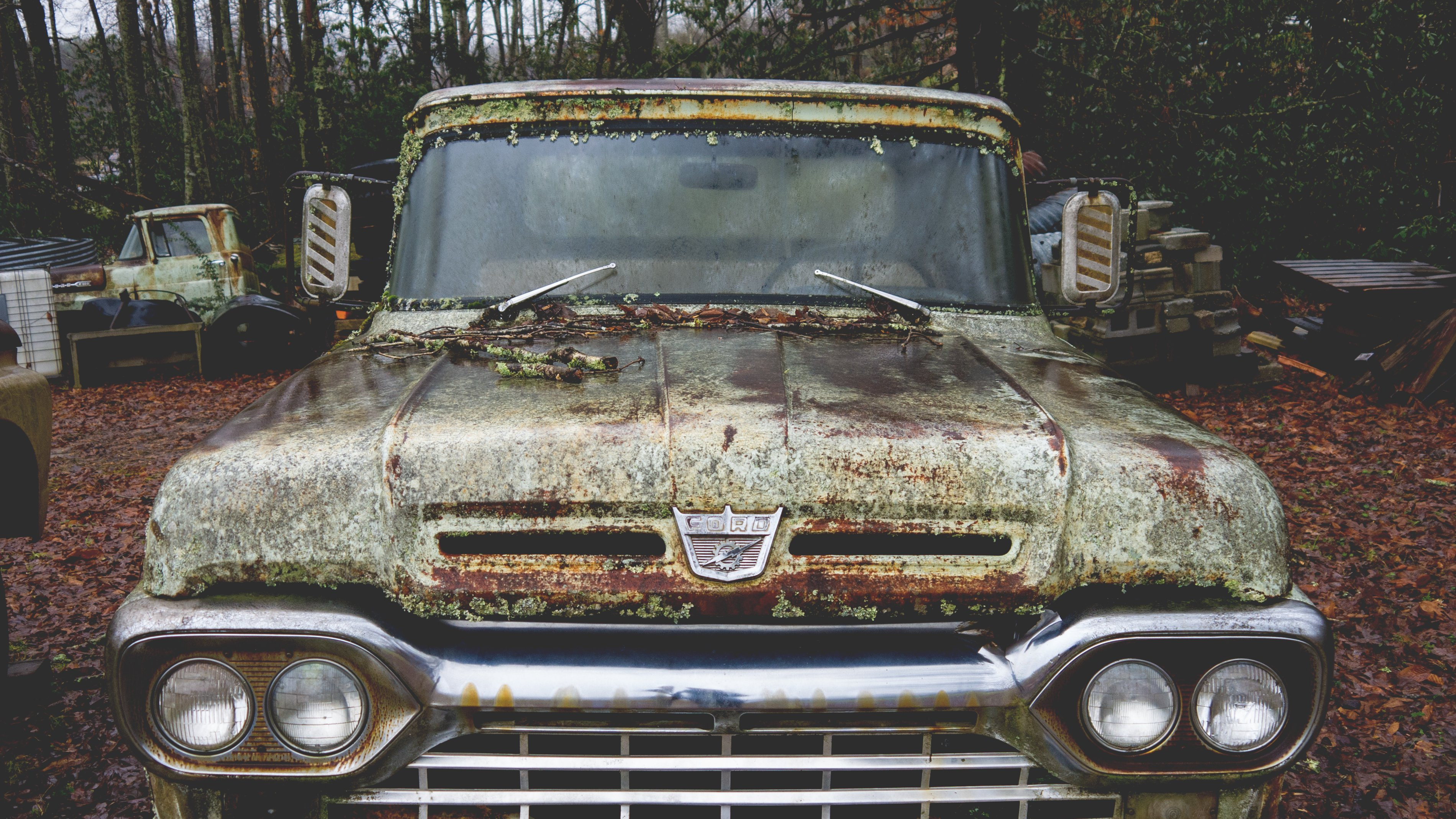 Old Abandoned Ford Truck Hd Wallpaper
