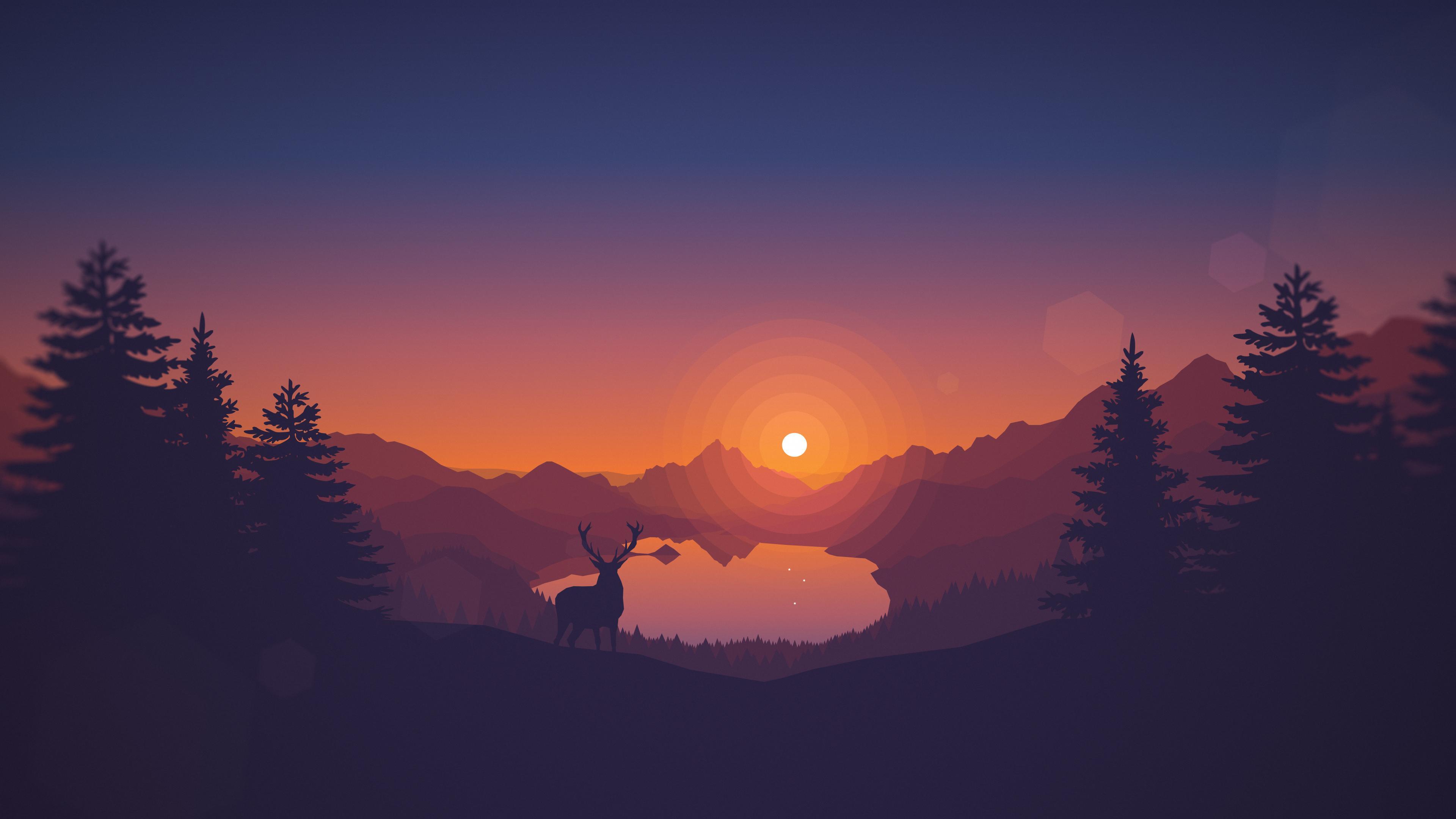 Lakeside Sunset 4k Wallpaper