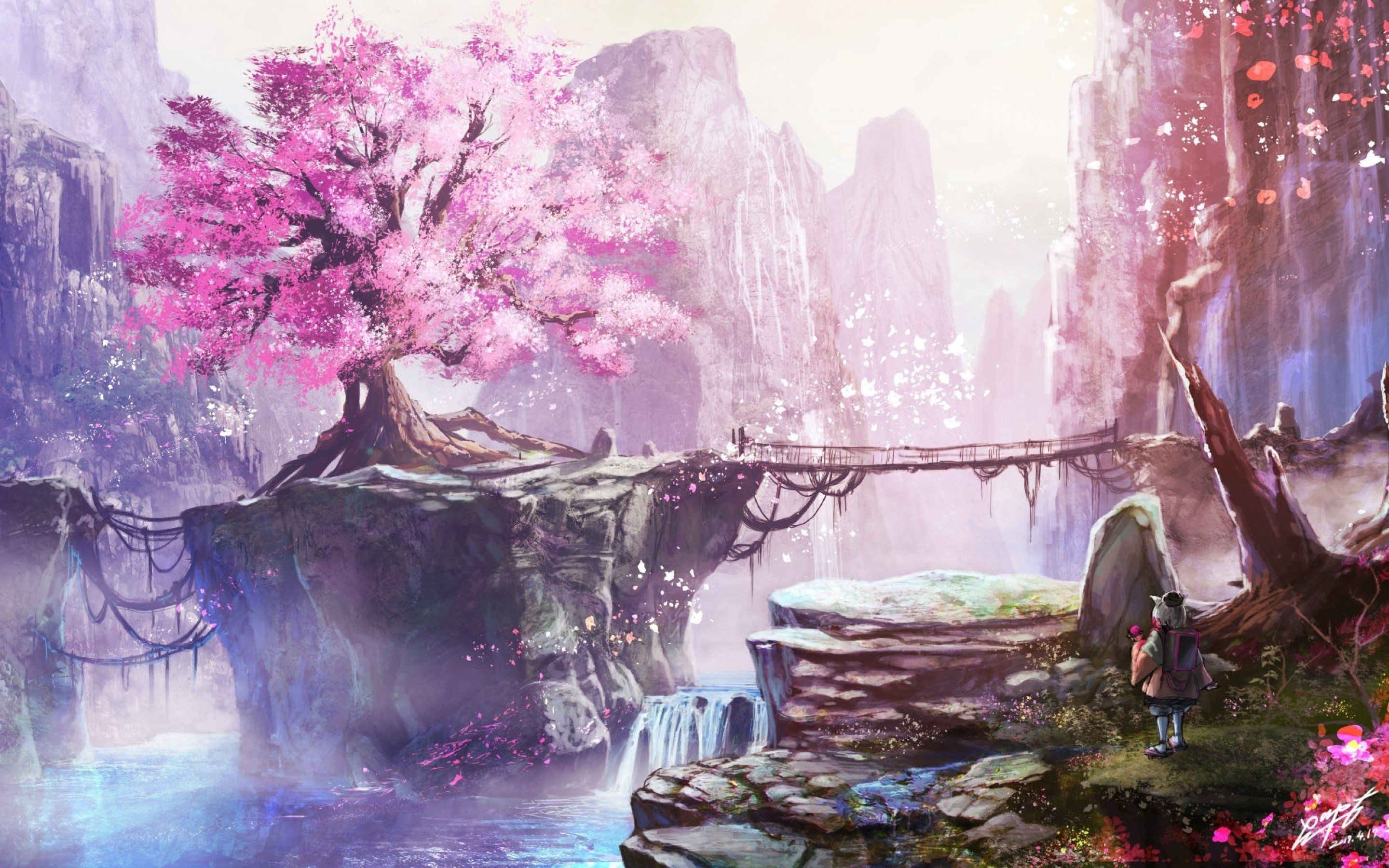 Anime Cherry Blossom Tree Hd Wallpaper