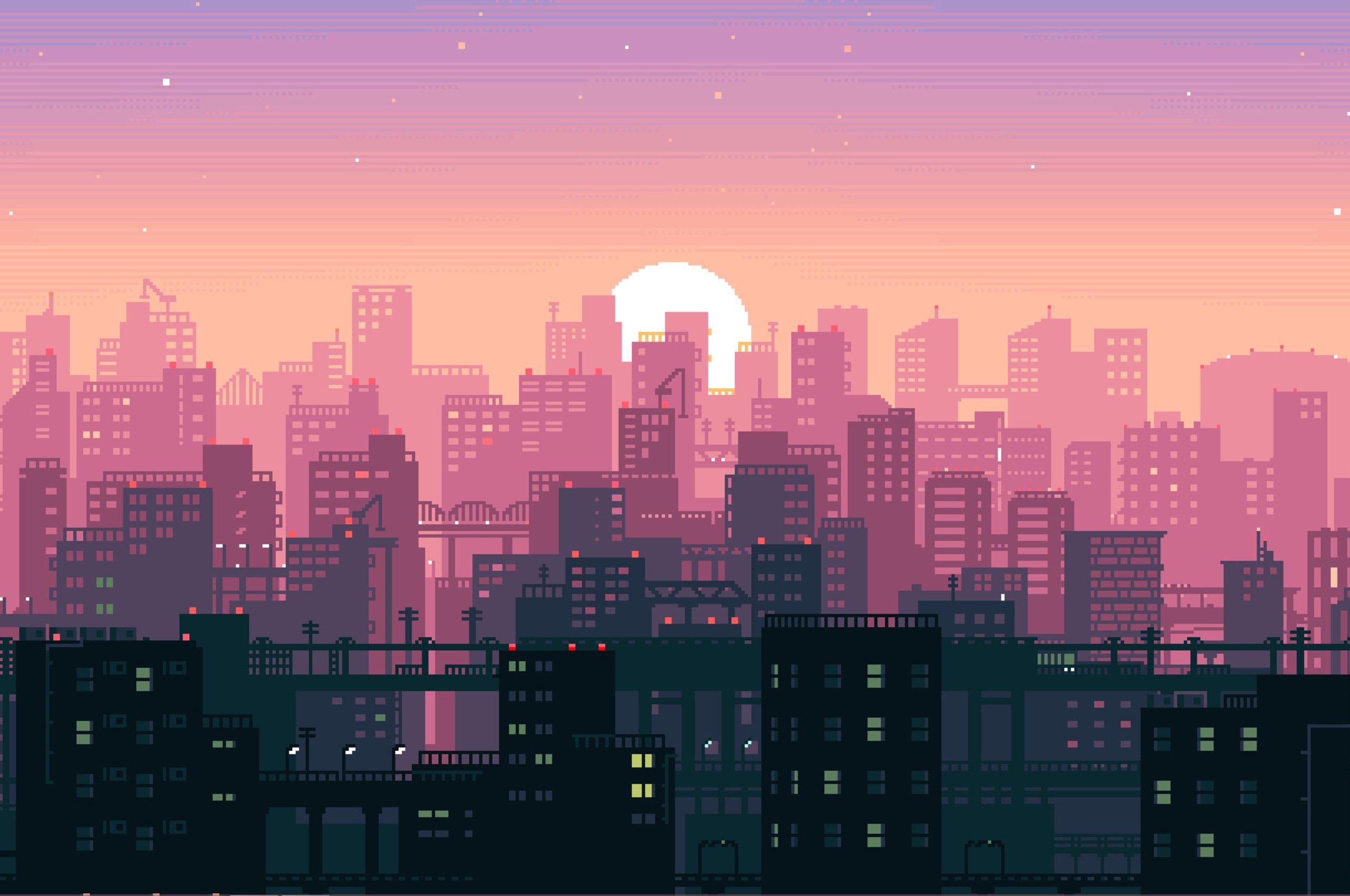8-Bit Sunset HD wallpaper