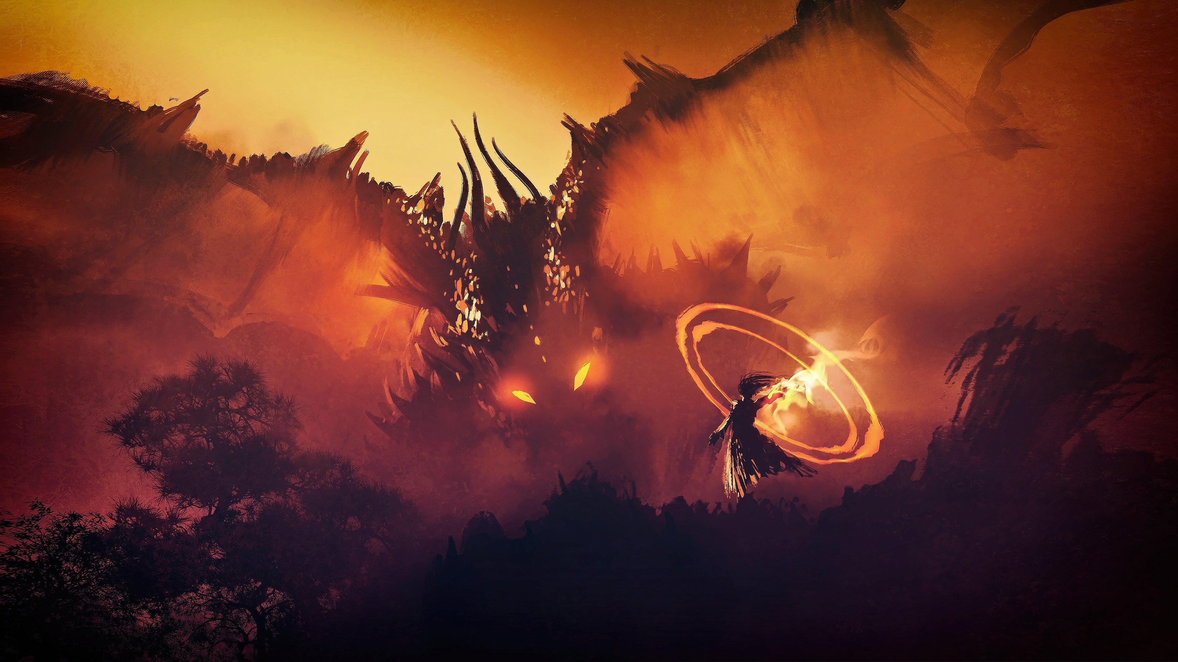 Wizard Vs Dragon wallpaper