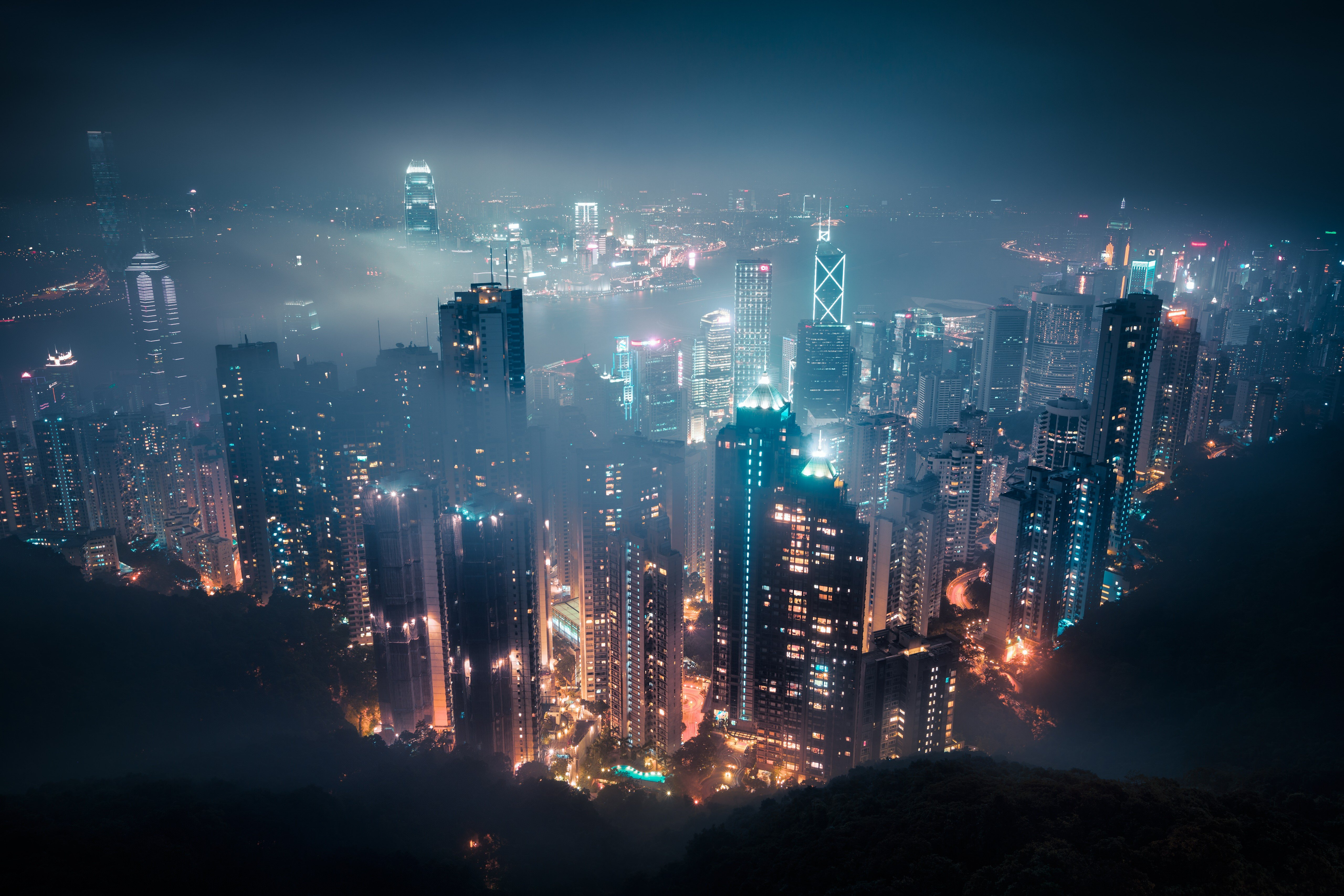 Hong Kong At Night 4k Wallpaper