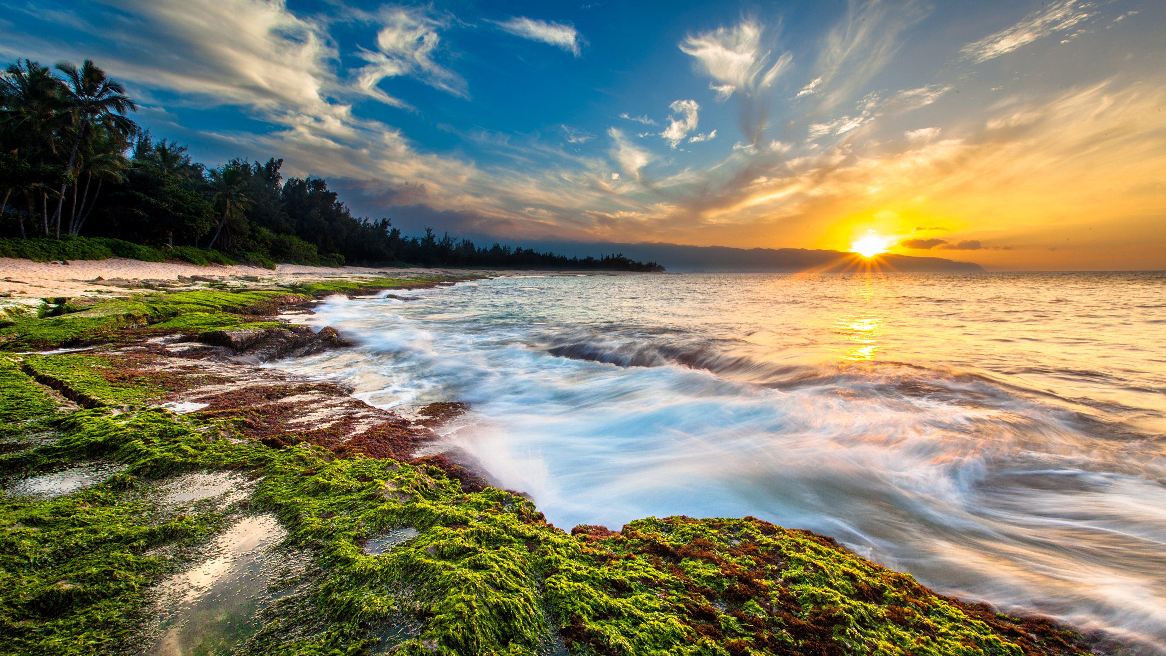 Hawaii Sunset Ocean Beach Waves Cl 4K wallpaper