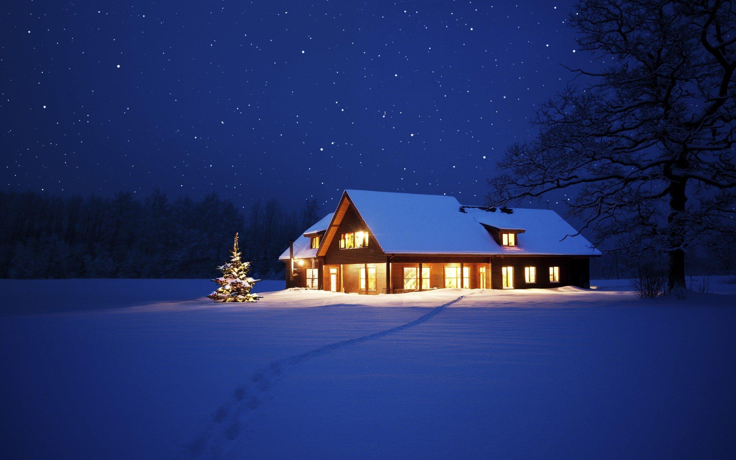 Beautiful Cool Winter Night Hd Wallpaper
