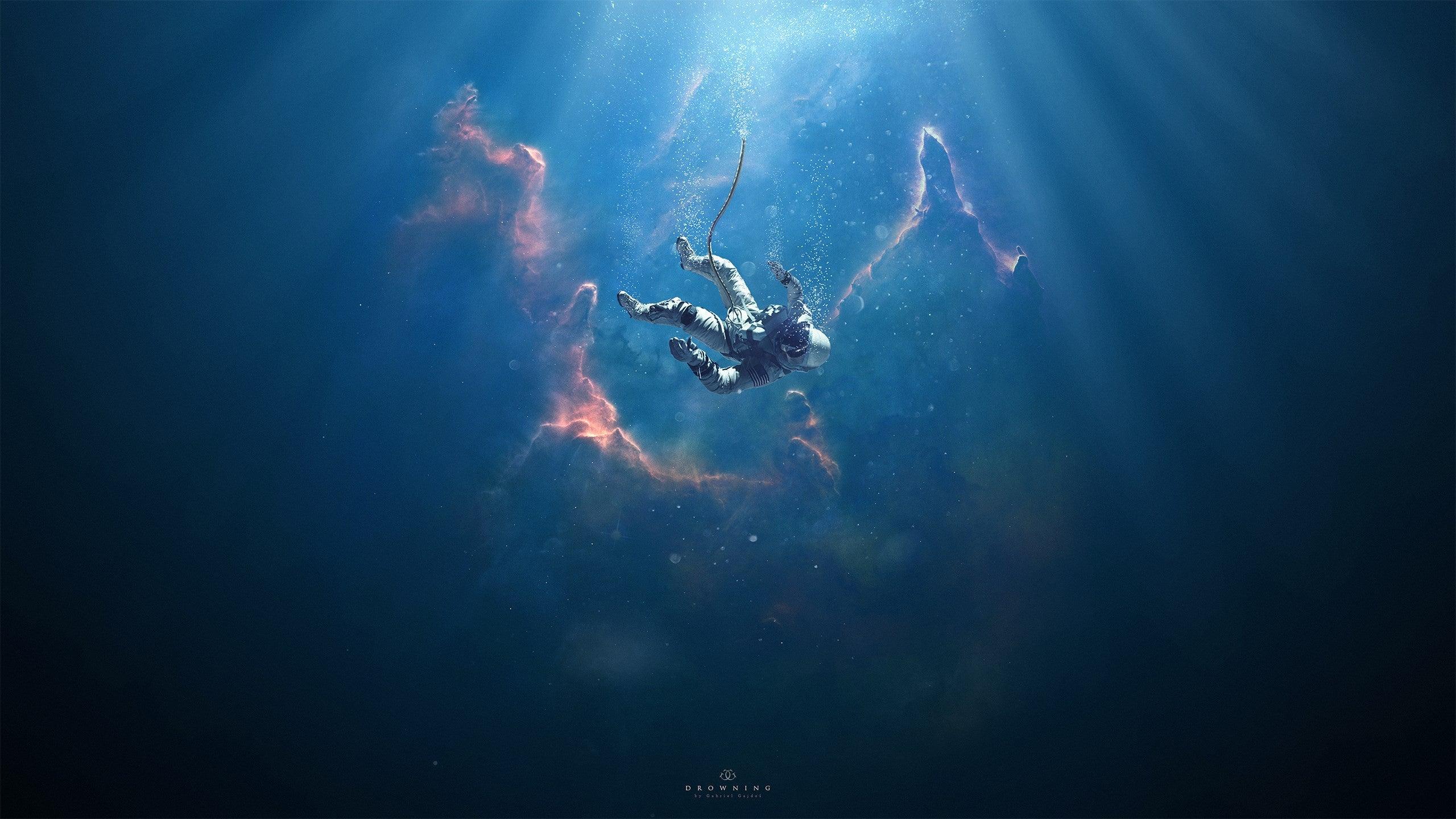 surreal drowning astronaut wallpaper