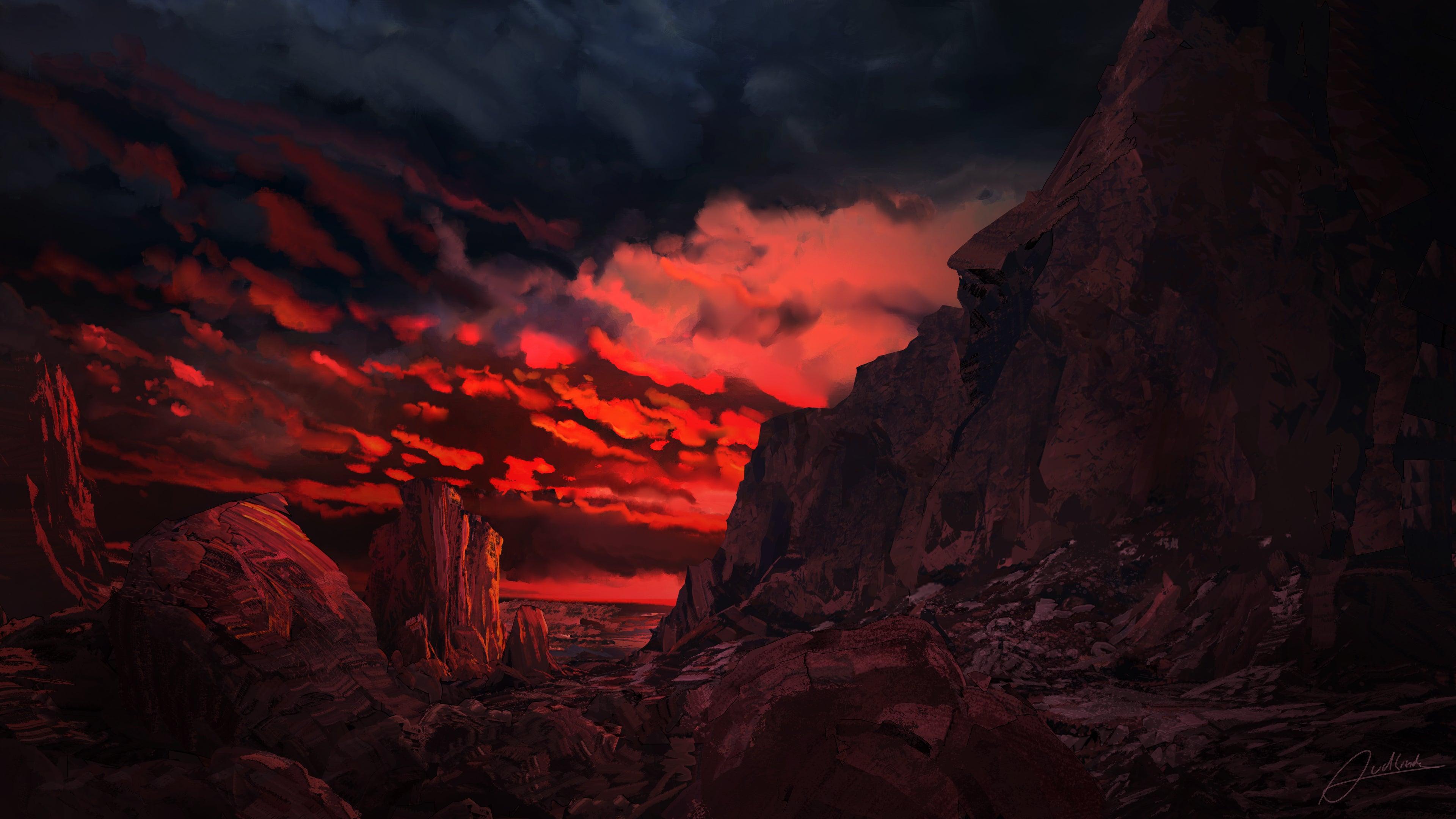 Red Sunset 4k Wallpaper