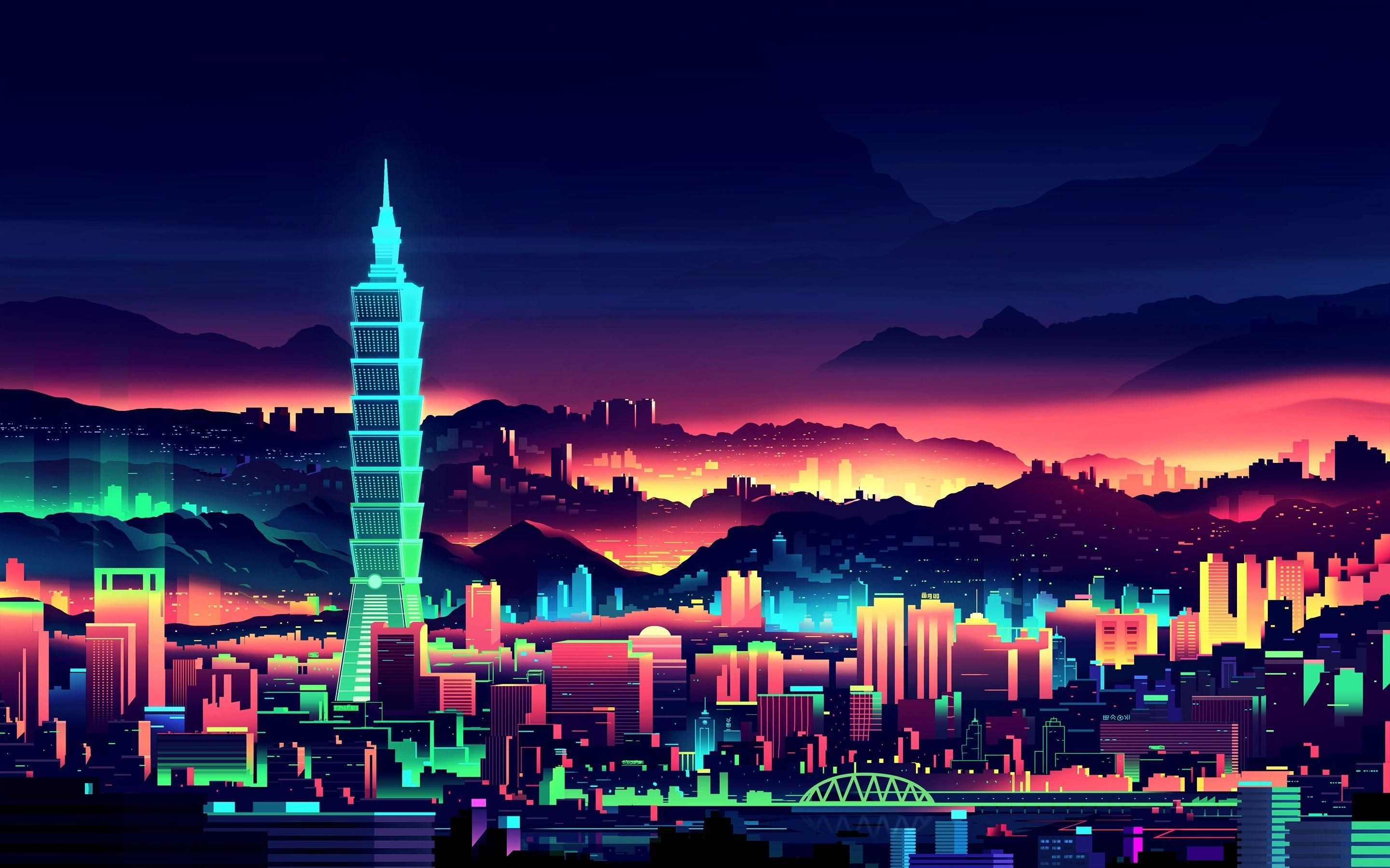 City In Retro Style Of 80s Hd Wallpaper