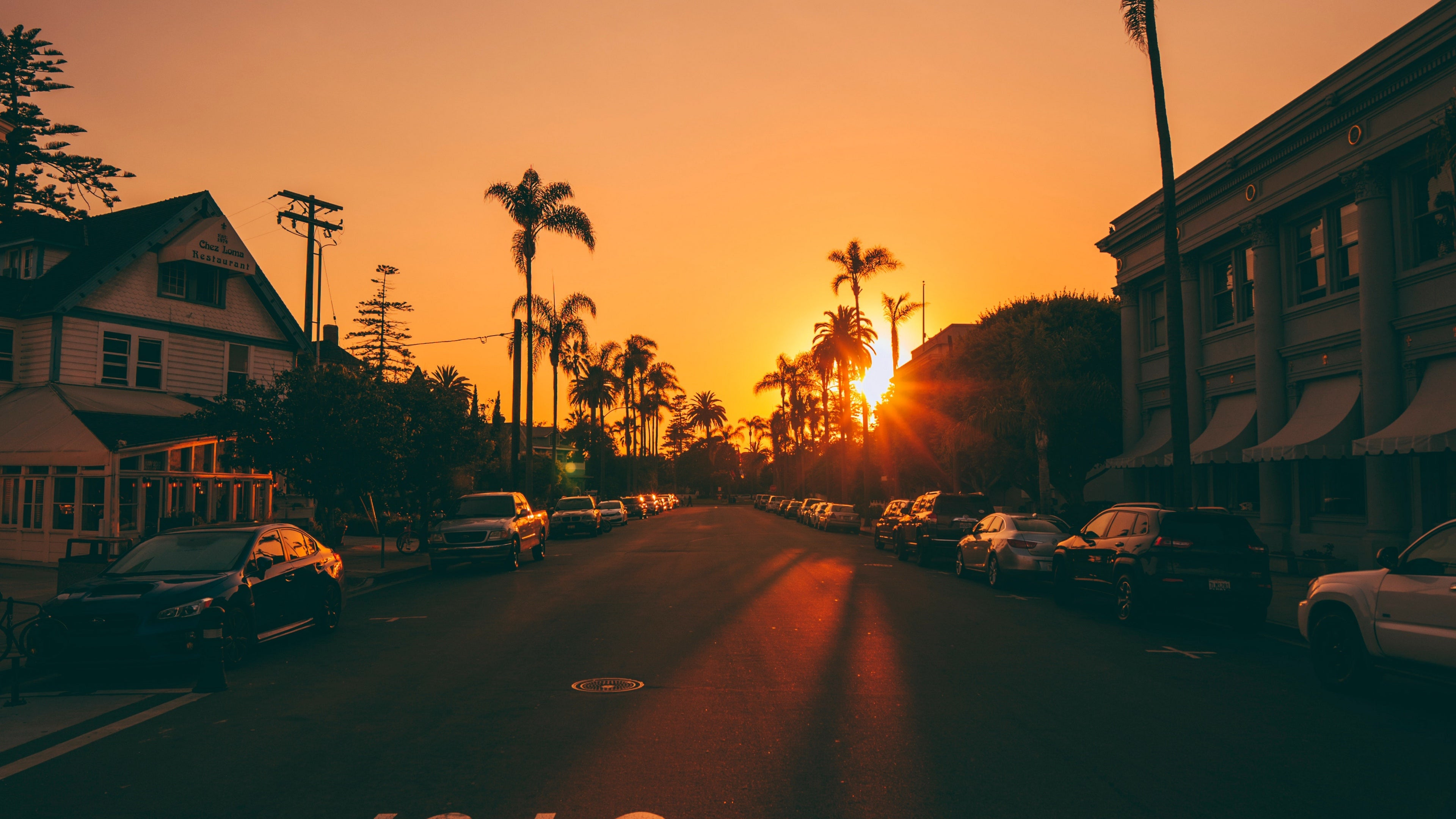 Street Sunset Palm Trees 4k Wallpaper
