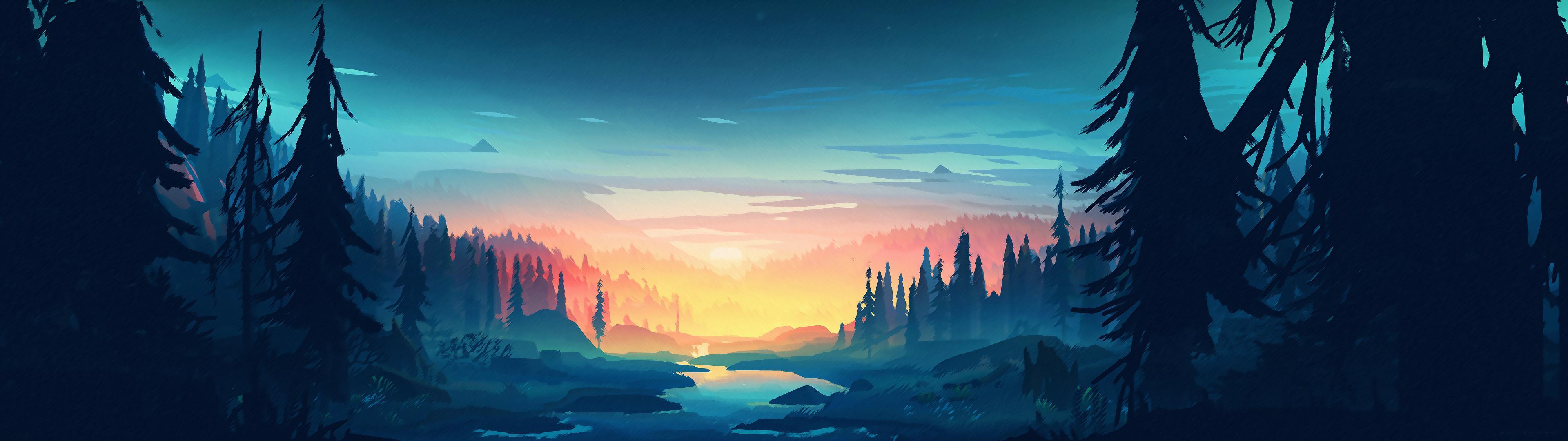 Wide Minimalistic Landscape 12K wallpaper