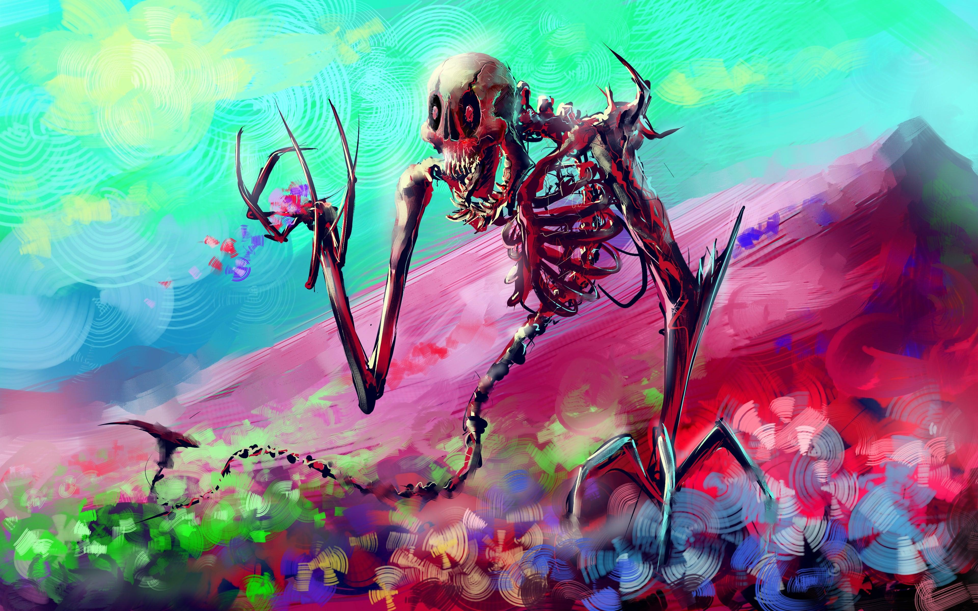 Skeleton Art Bright Colorful 4k Wallpaper