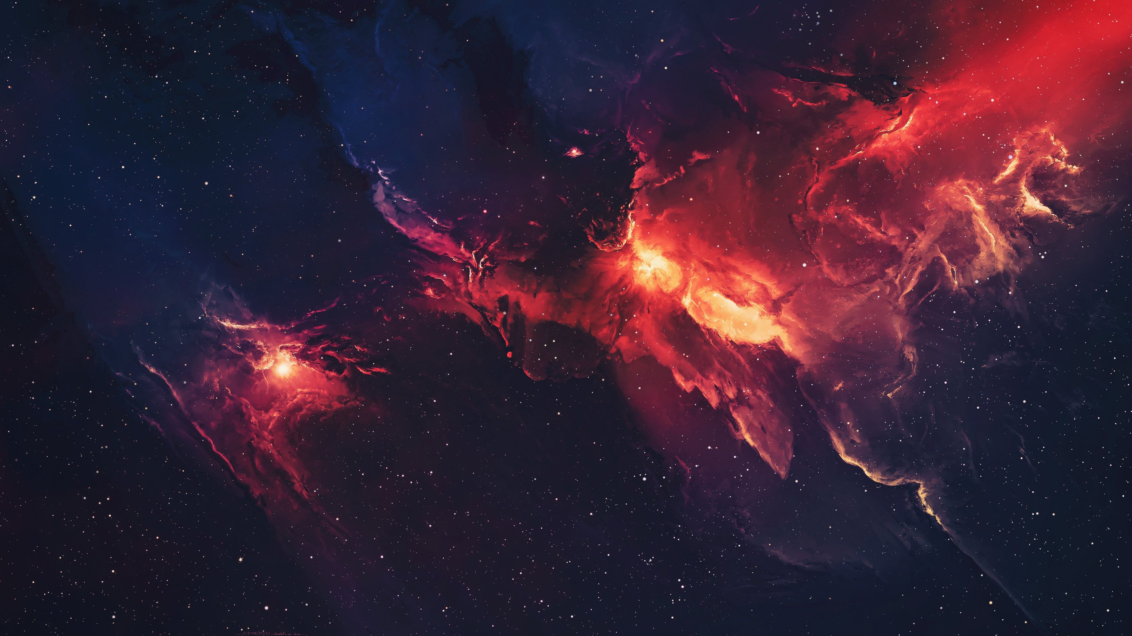 Red And Blue Nebula 4k Wallpaper