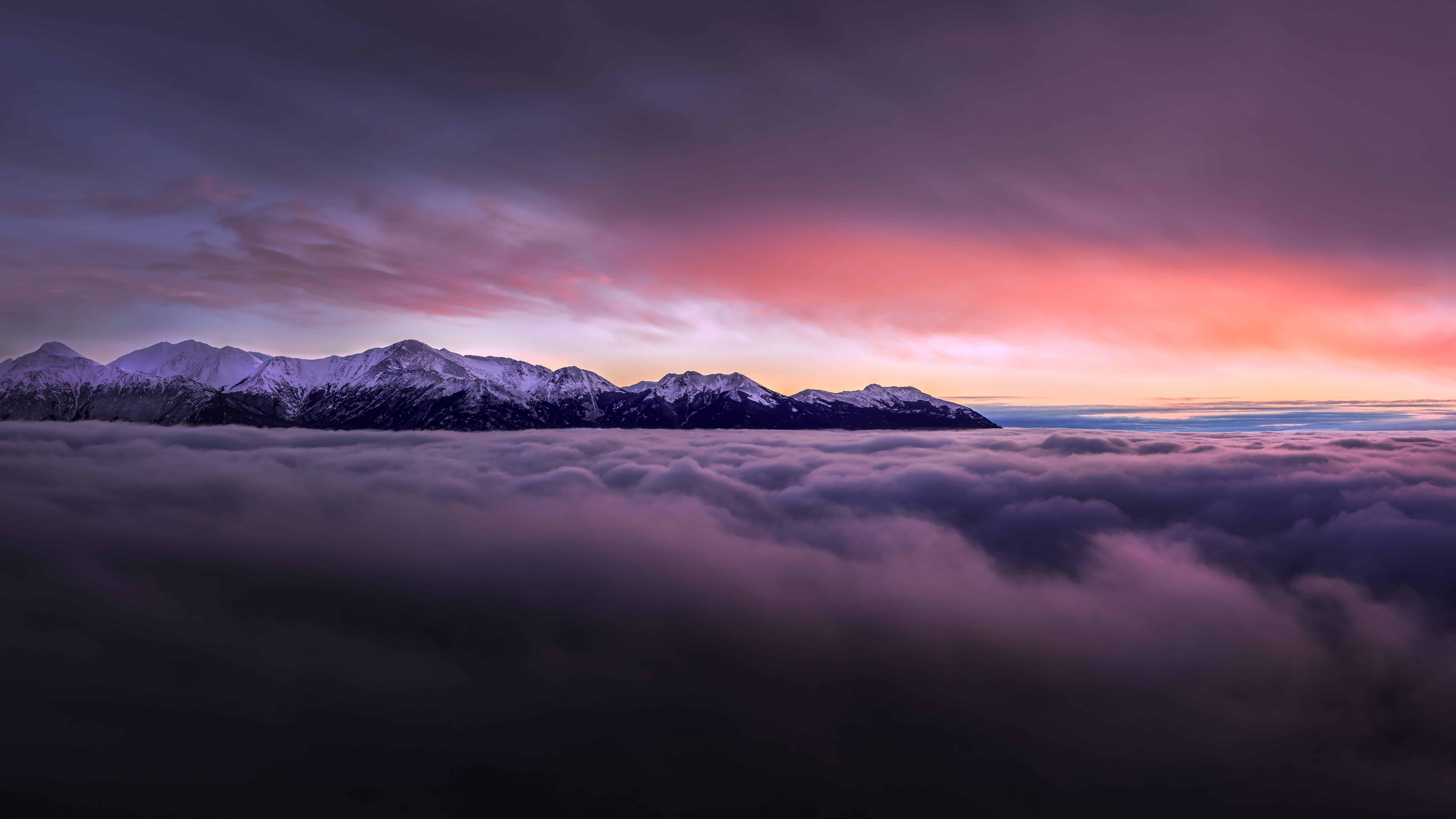 Sunset With Mountains Above Clouds 4k Wallpaper
