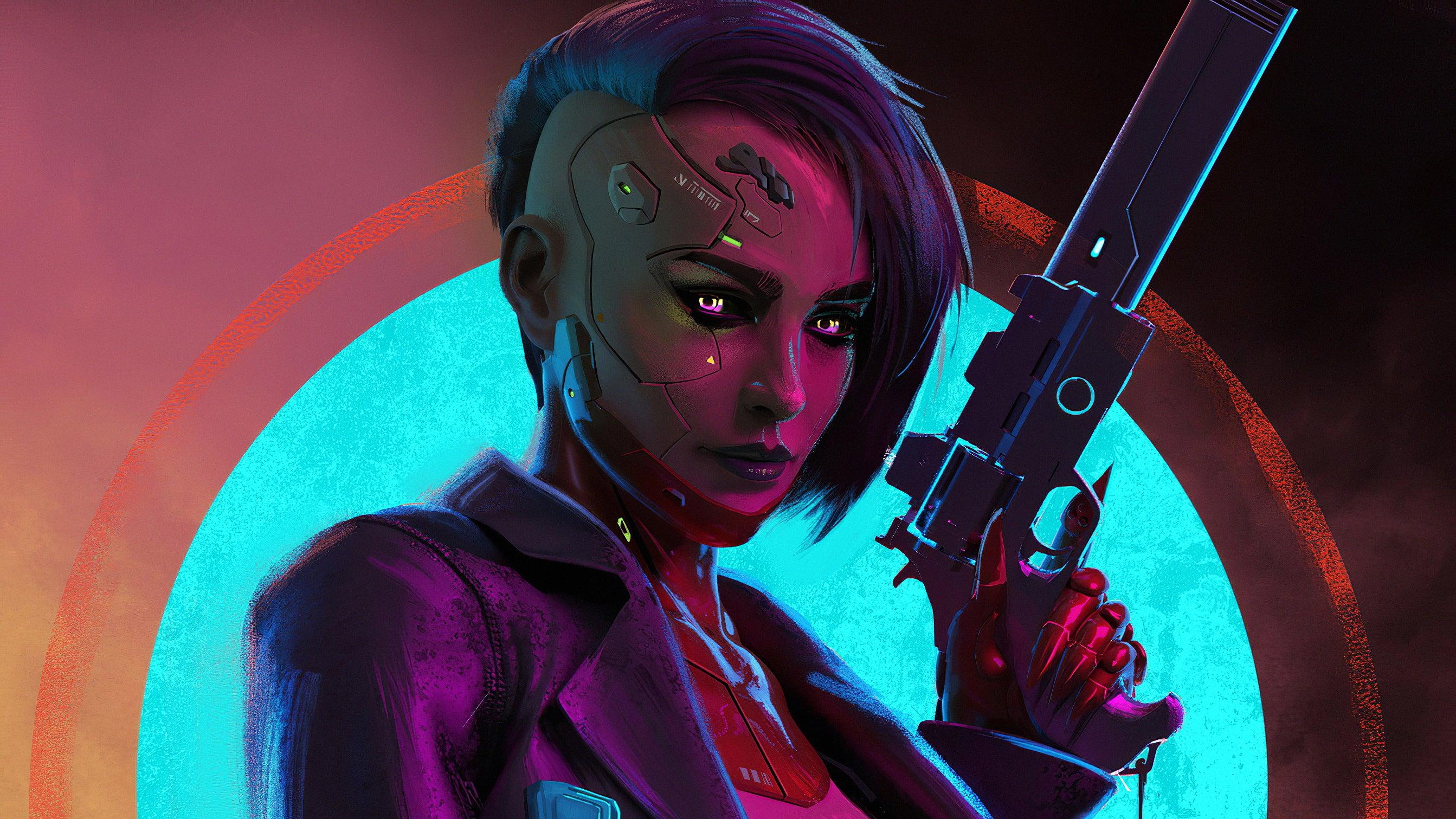 Cyberpunk Girl With Gun HD wallpaper