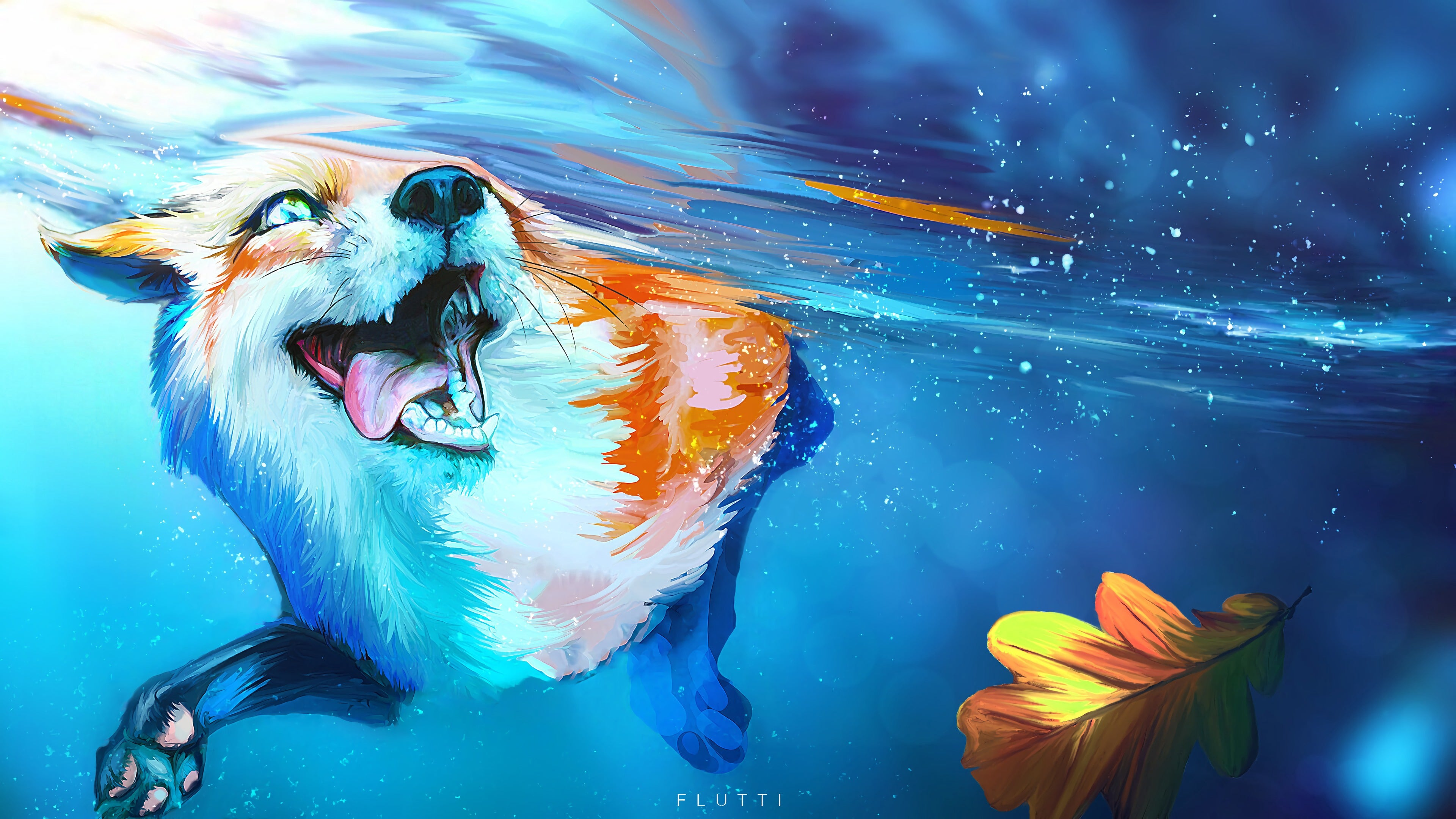 Fox Tongue Protruding Water 4k Wallpaper
