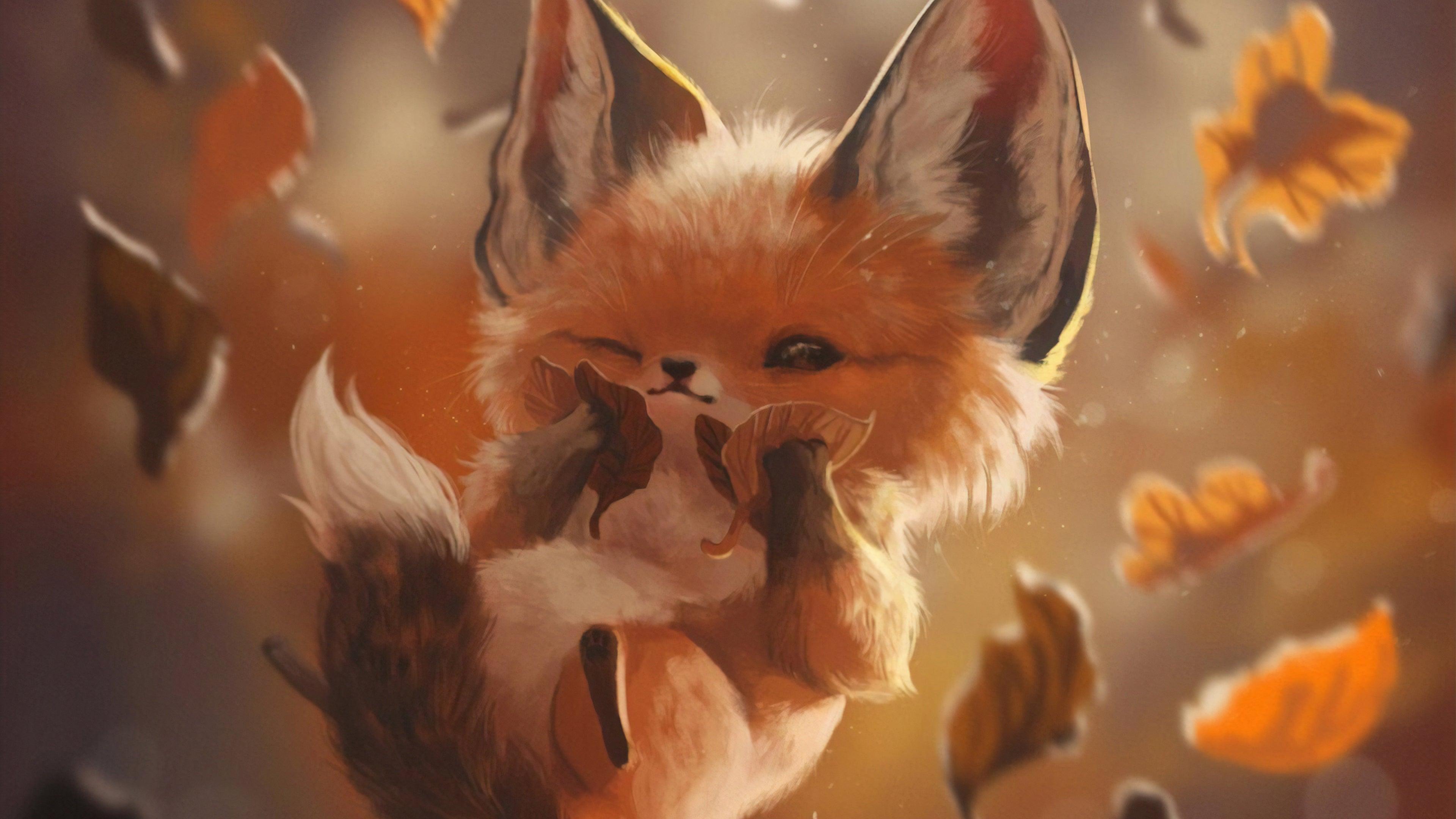 Autumn Lover Fox 4k Wallpaper