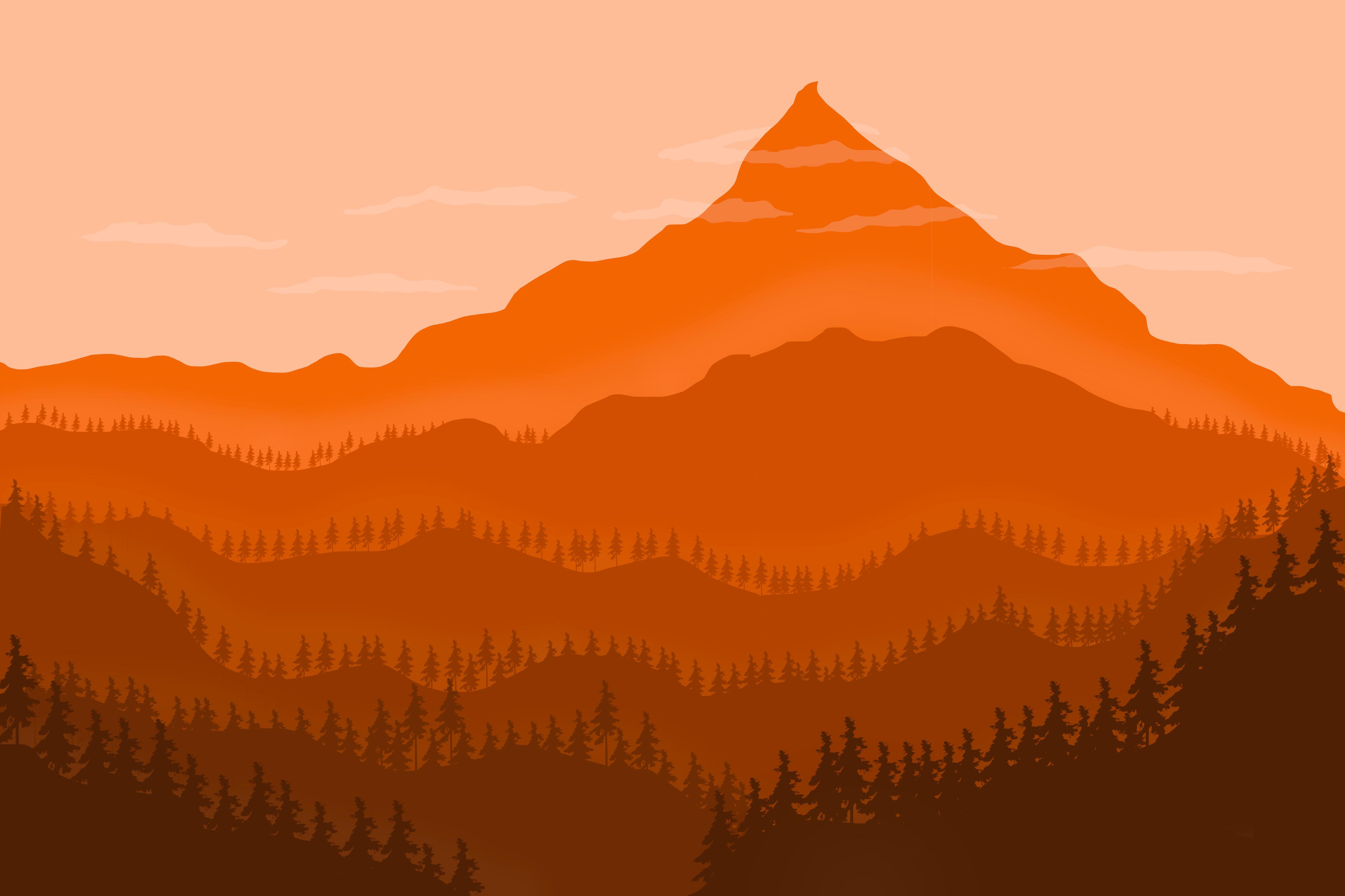 Minimalist Mountain Landscape 4K wallpaper