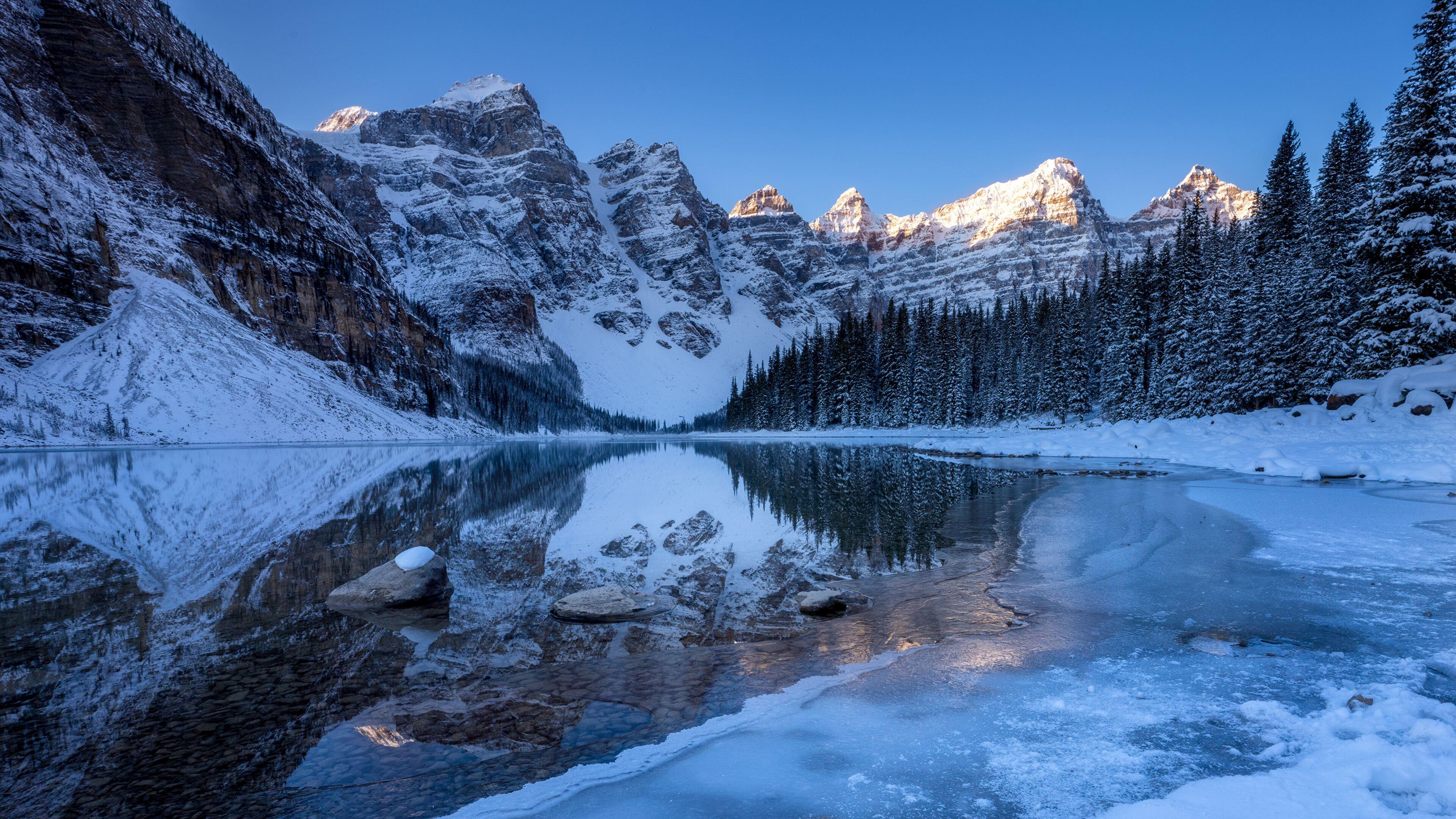 Moraine Lake In Banff National Park 4k Wallpaper