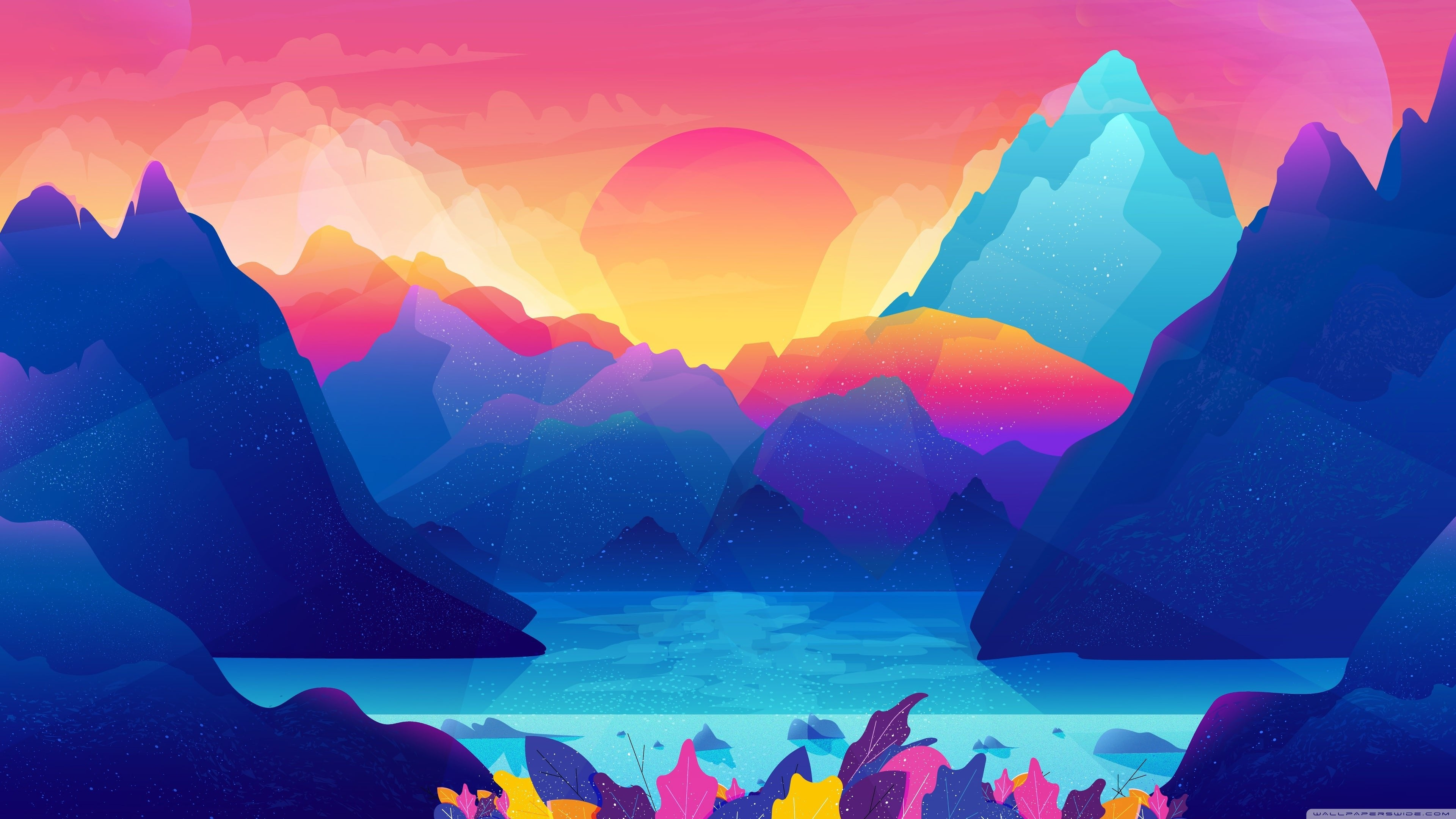 Animated Colorful Landscape 4k Wallpaper
