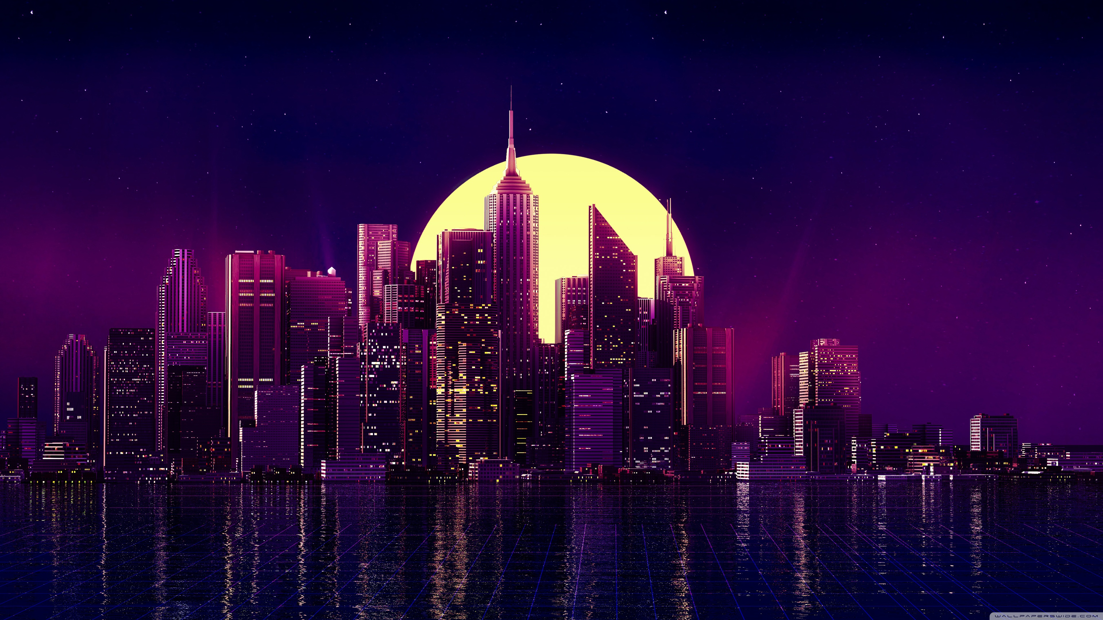 Bright Moon City 4k Wallpaper