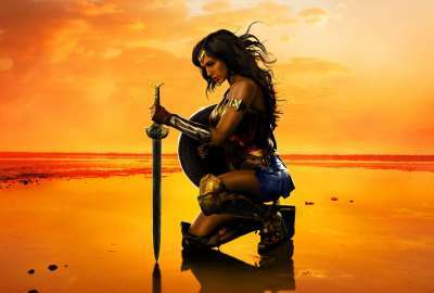 A Wonder Woman Alone at Beach wallpaper