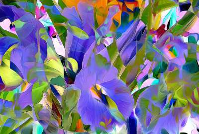 Abstract Flowers Painting wallpaper