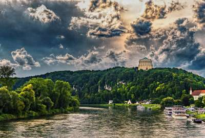 Bavaria River Trees Sky wallpaper