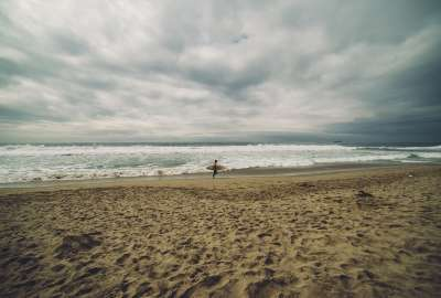 Beach Brown Clouds Gray Sand Sea Sky Surf White wallpaper