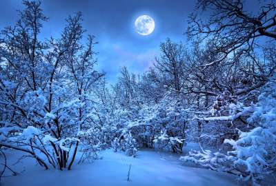 Beauty of Moon Light and Snow Shining wallpaper