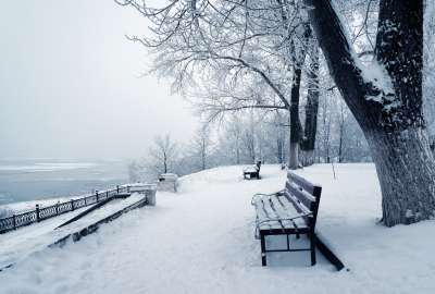 Bench Covered With Snow wallpaper