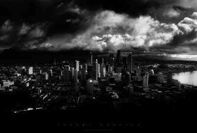 Black and White Cityscapes Seattle Monochrome Cities wallpaper
