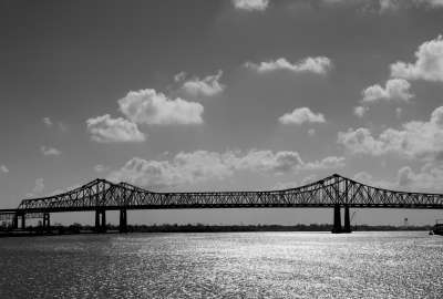 Black and white Bridges Clouds Sky wallpaper